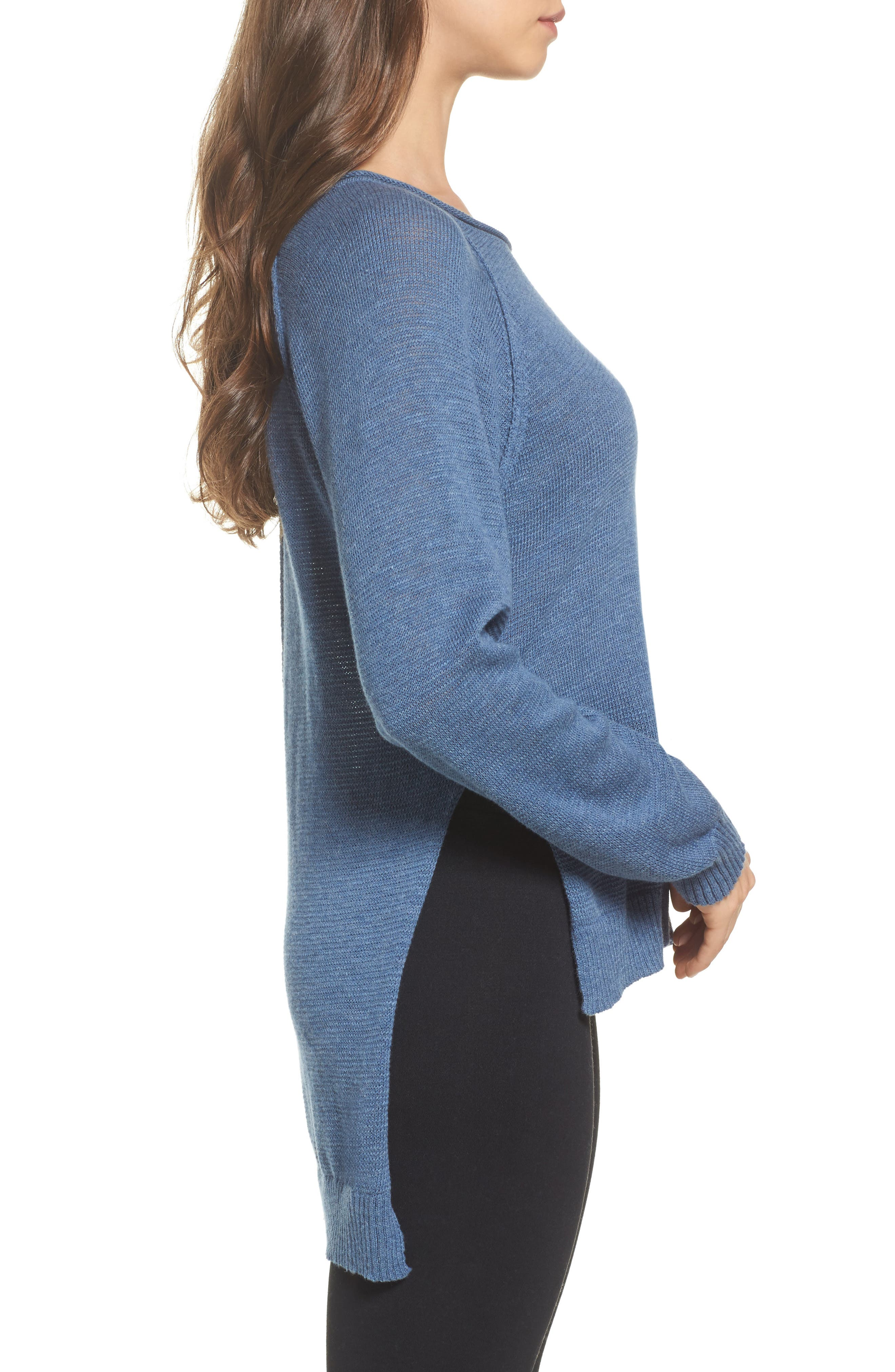 Estela High/Low Sweater,                             Alternate thumbnail 3, color,                             Deep River Heather