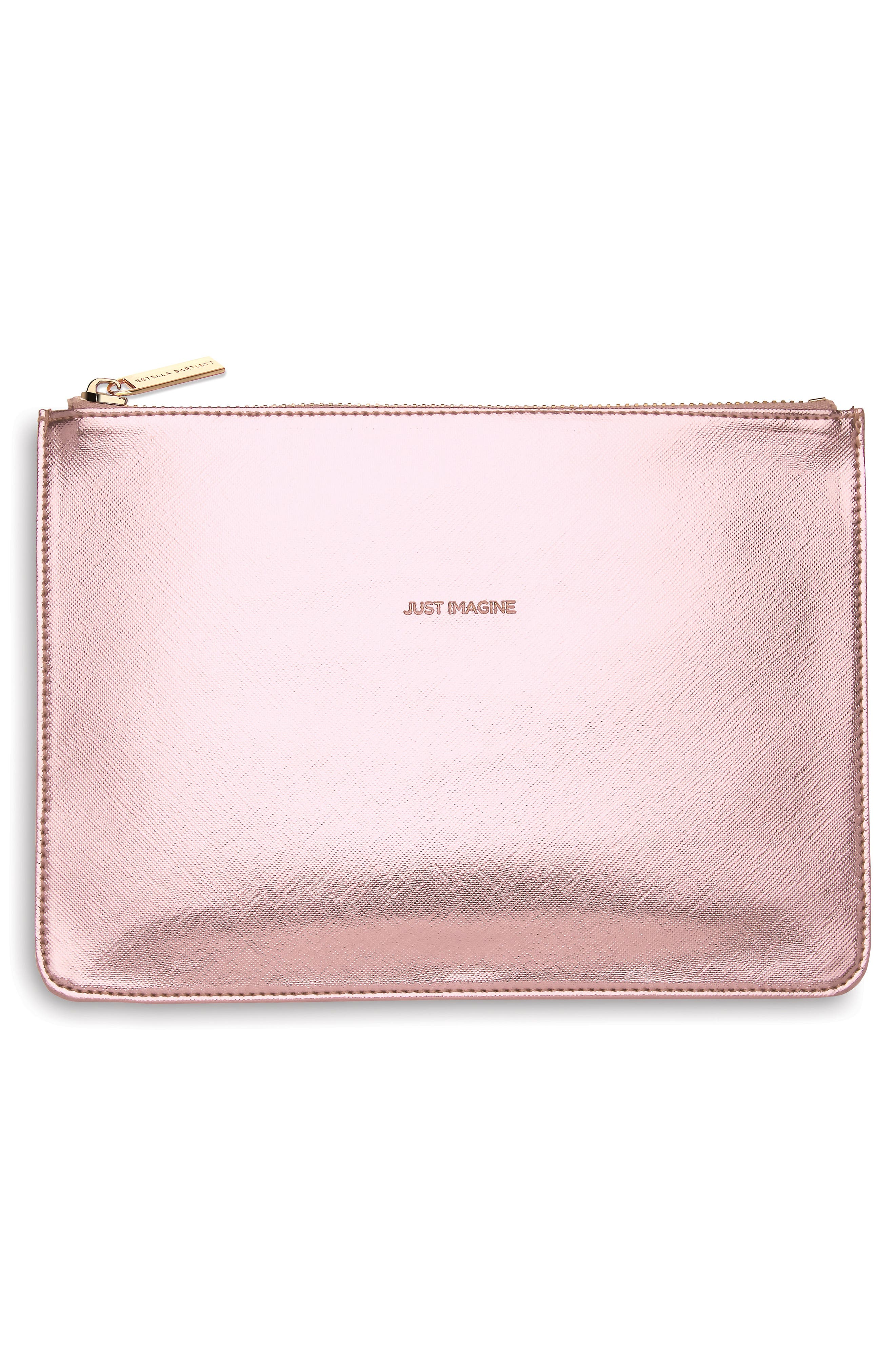Just Imagine Faux Leather Pouch,                             Main thumbnail 1, color,                             Rose Gold