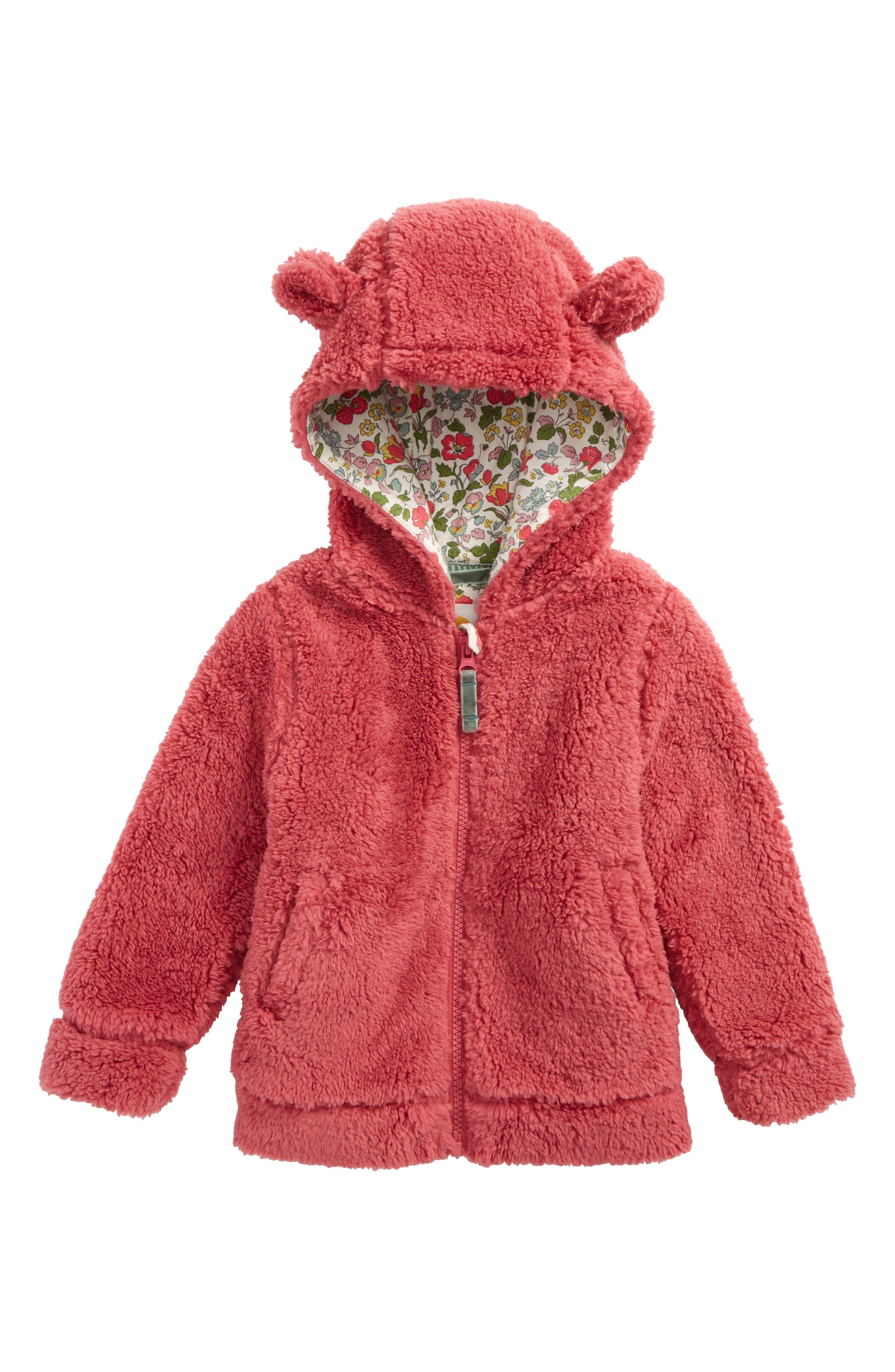 Main Image - Mini Boden Cosy Teddy Bear Hoodie (Toddler Girls, Little Girls & Big Girls)