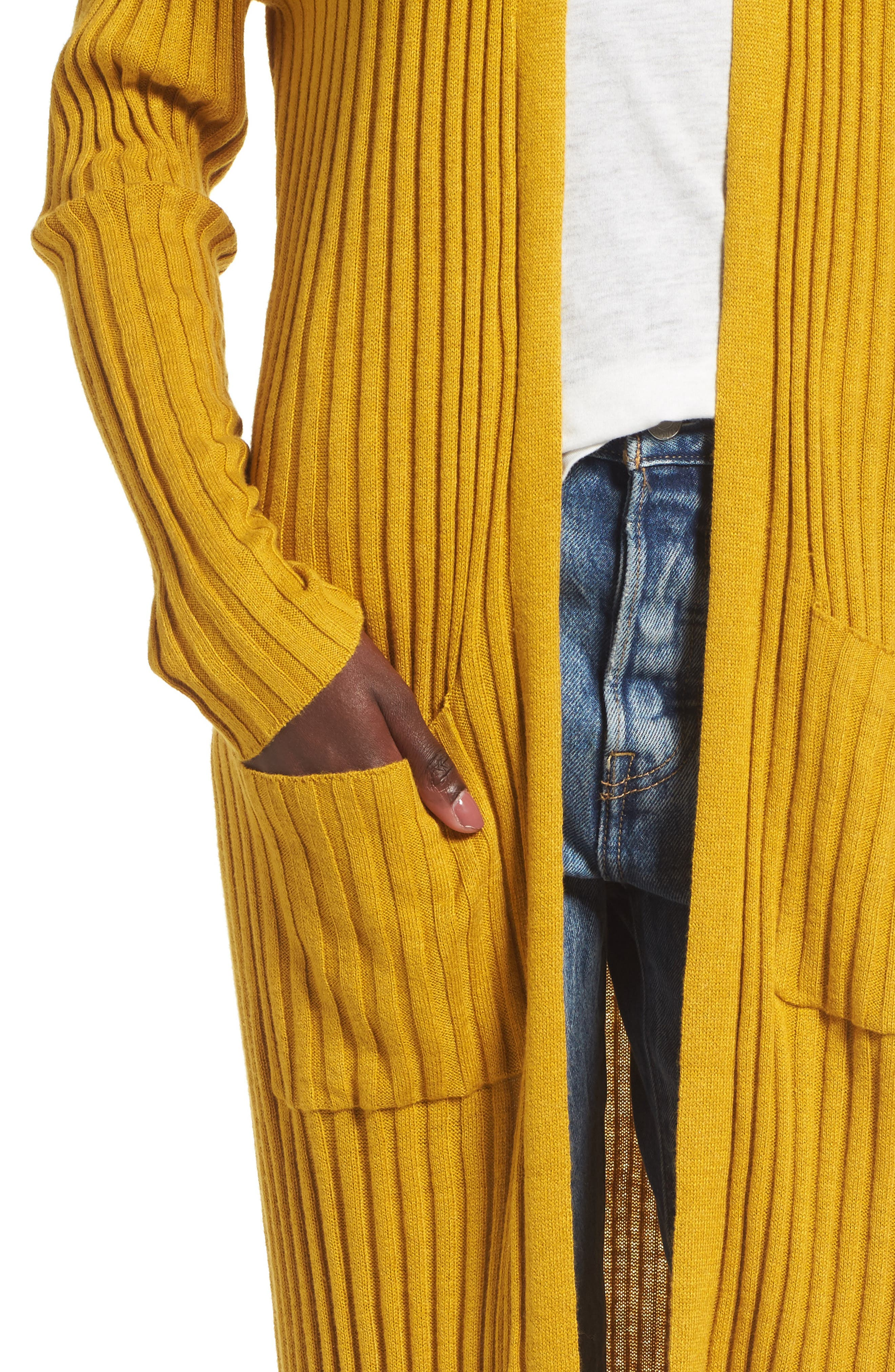 Rib Knit Midi Cardigan,                             Alternate thumbnail 6, color,                             Olive Arrowwood
