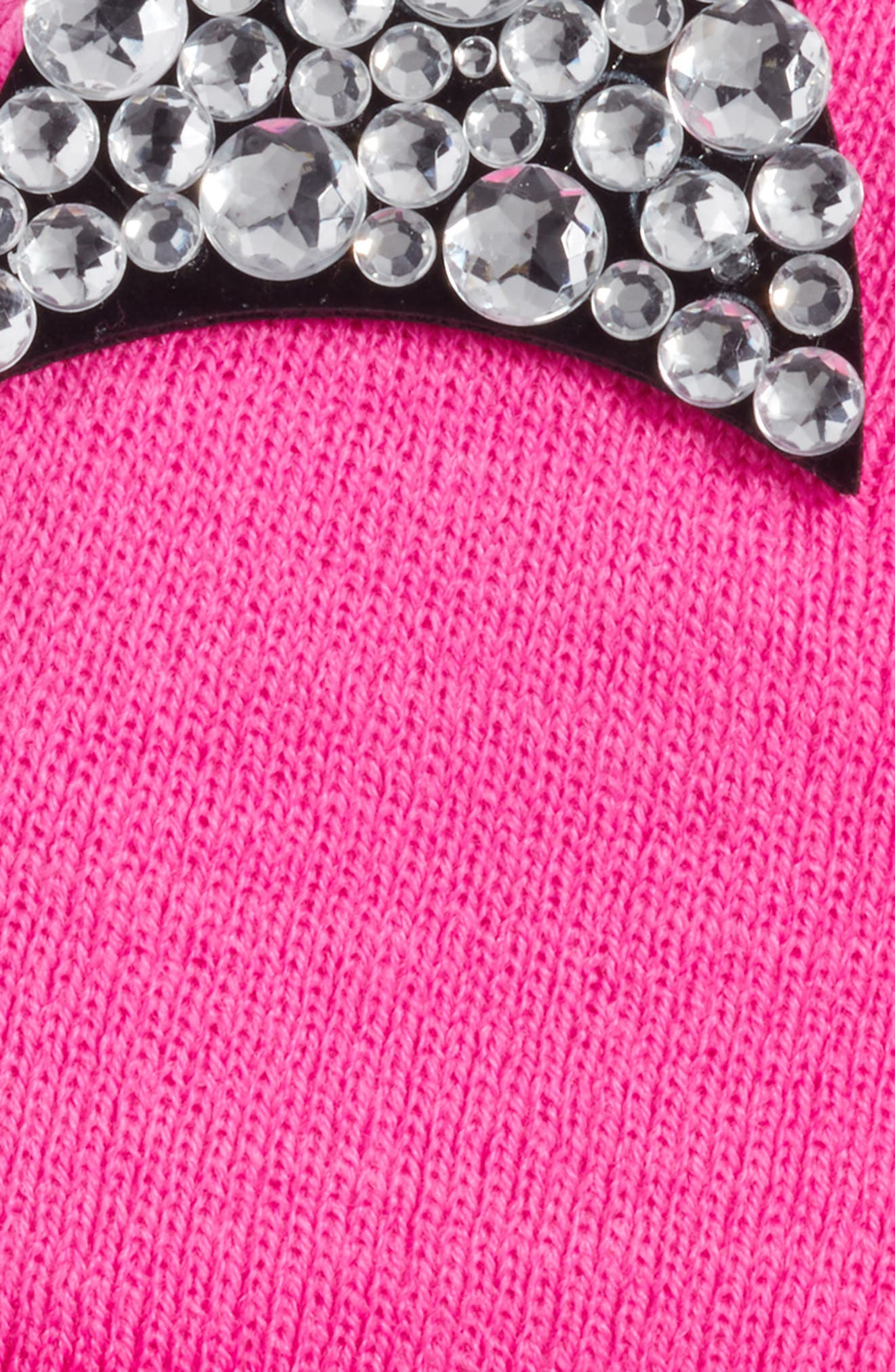 Jeweled Cat Ear Beanie,                             Alternate thumbnail 3, color,                             Hot Pink