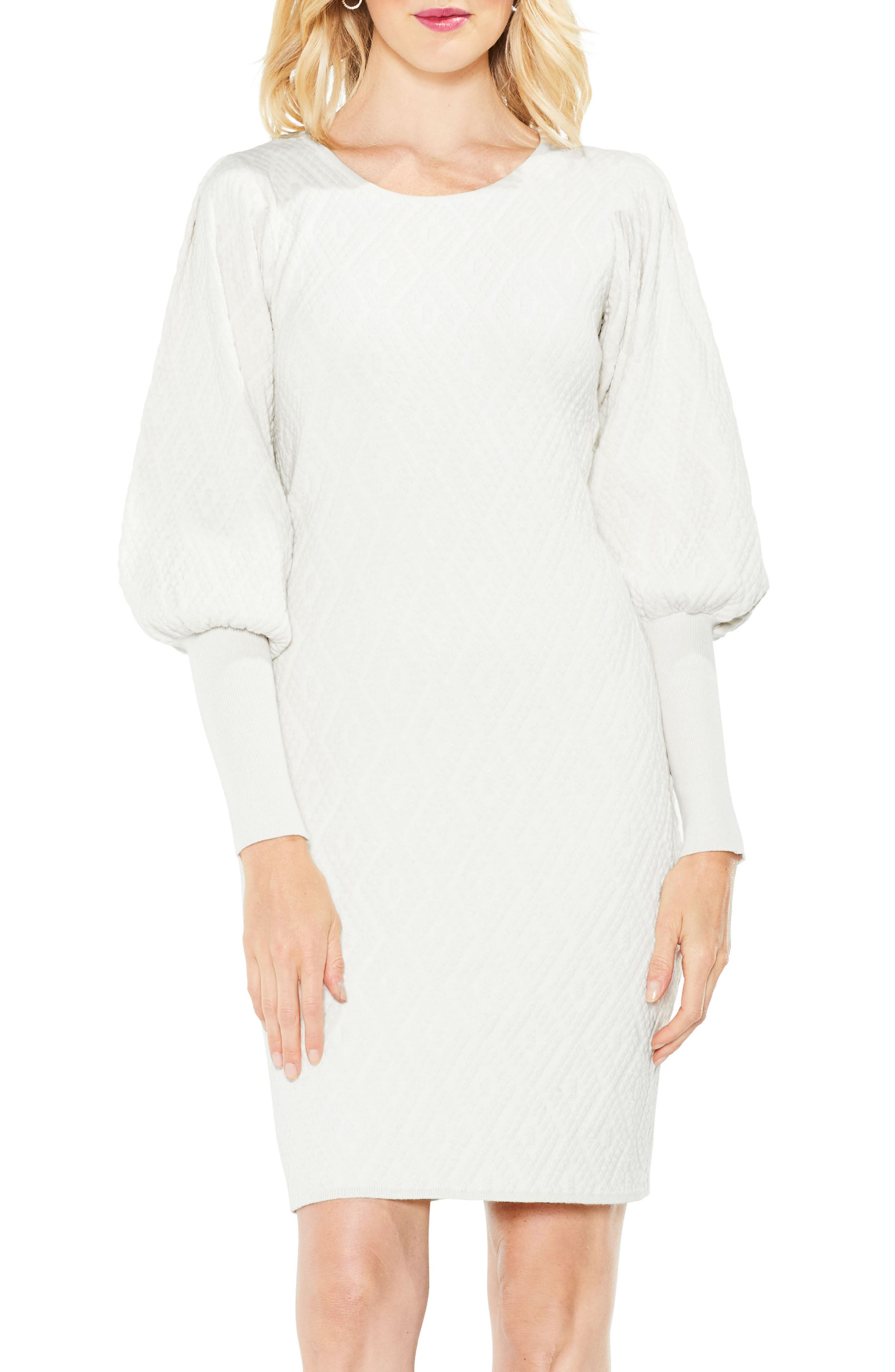 Bubble Sleeve Textured Jacquard Dress,                         Main,                         color, Pearl Ivory