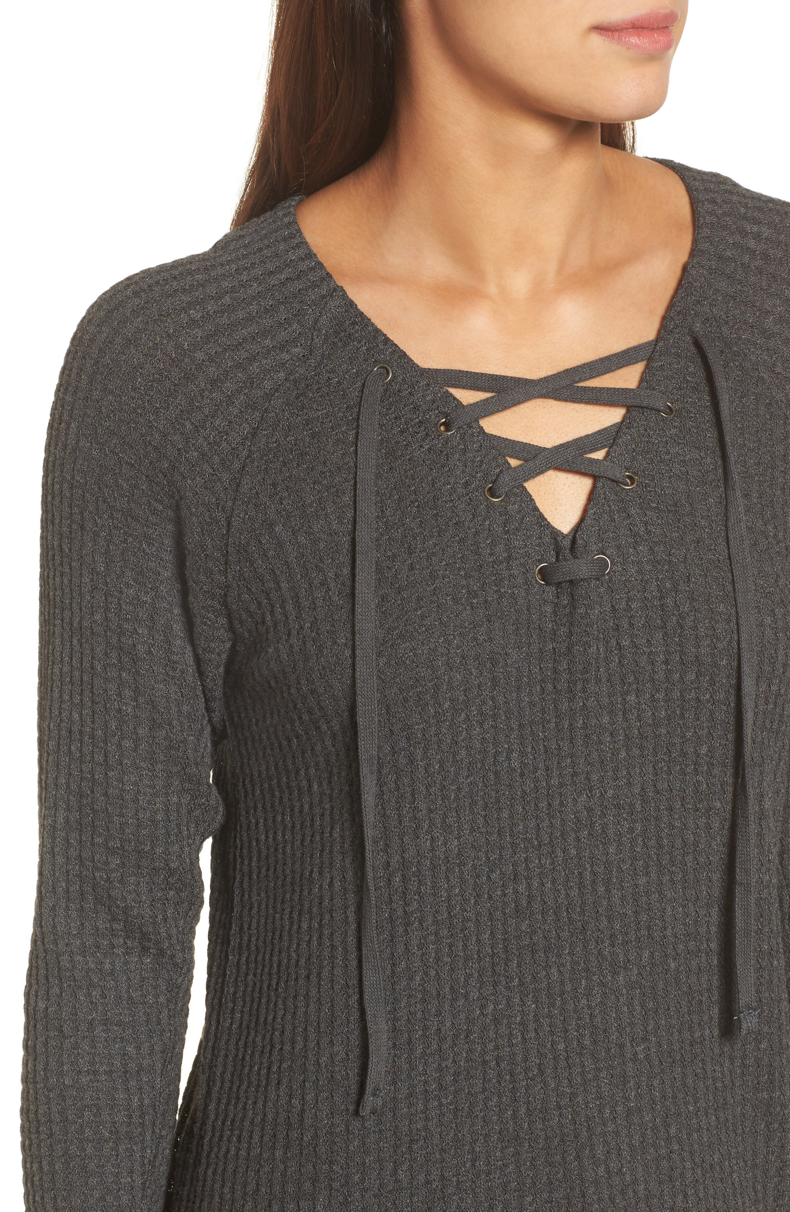 Thermal Knit Lace-Up Top,                             Alternate thumbnail 4, color,                             Anthracite
