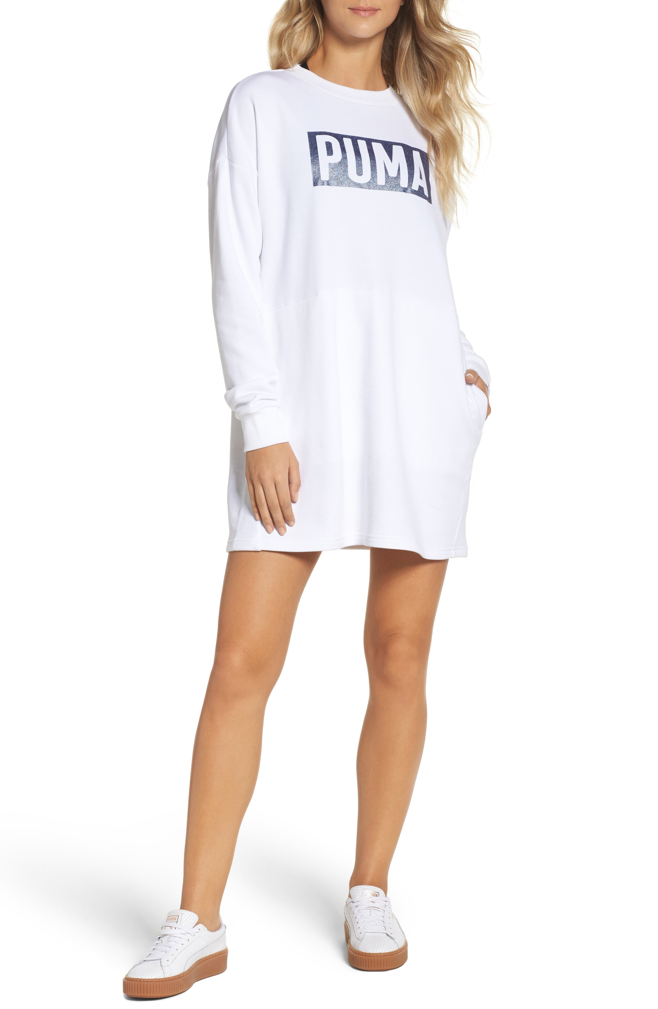 Fusion Sweatshirt Dress,                         Main,                         color, Puma White-Glitter