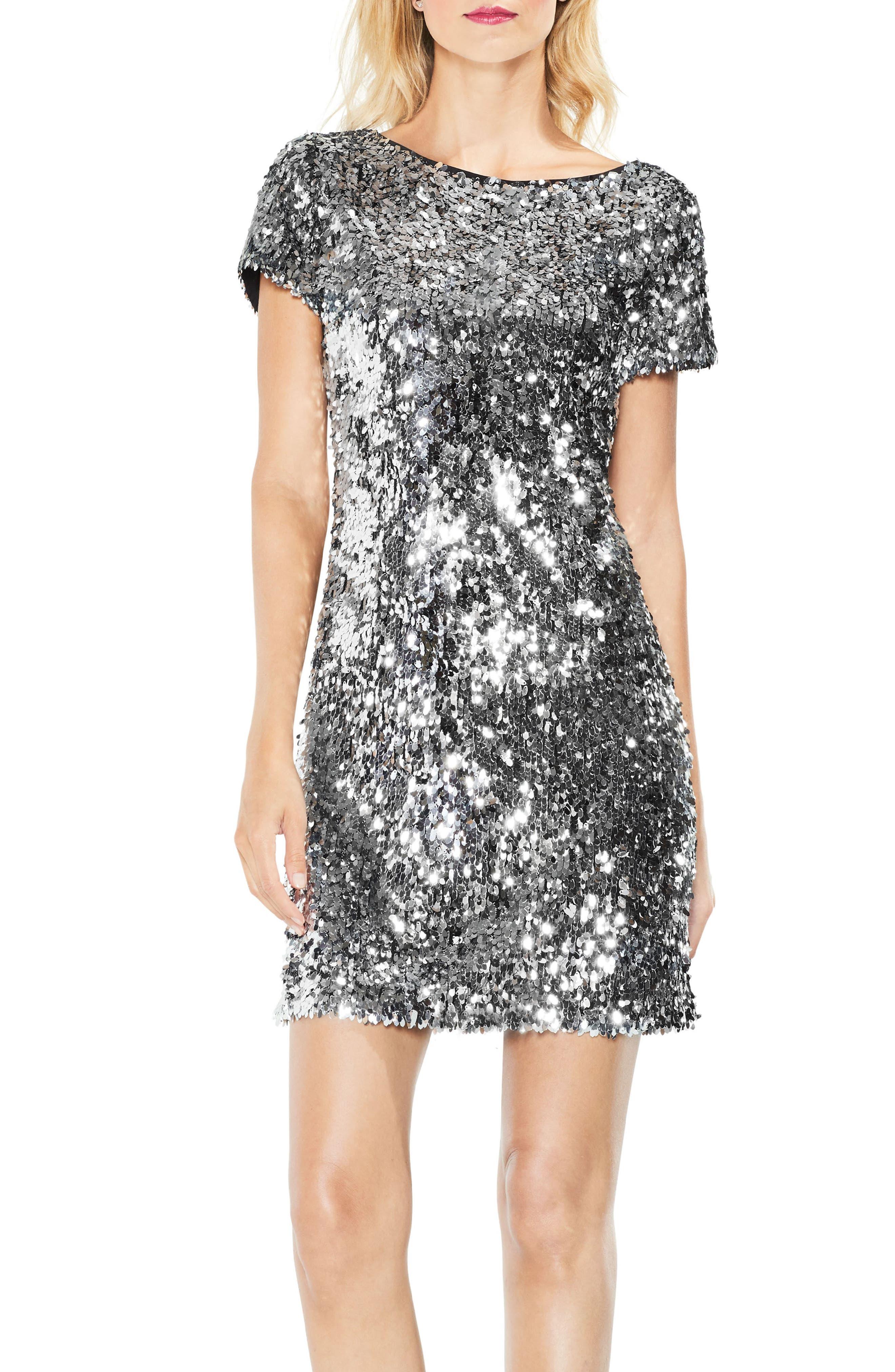 Allover Sequin Dress,                         Main,                         color, Chrome