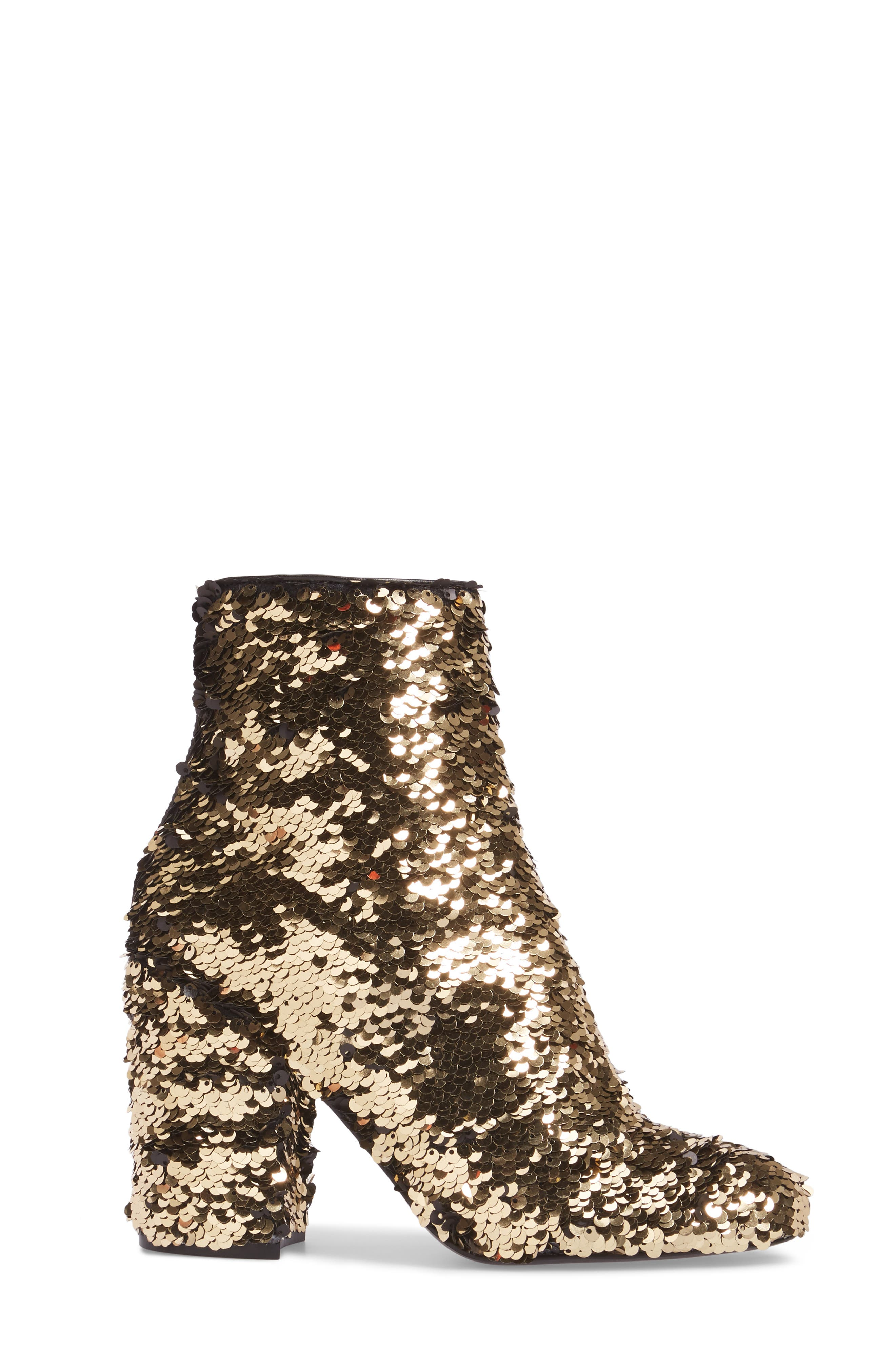 Georgia Sequin Bootie,                             Alternate thumbnail 3, color,                             Gold