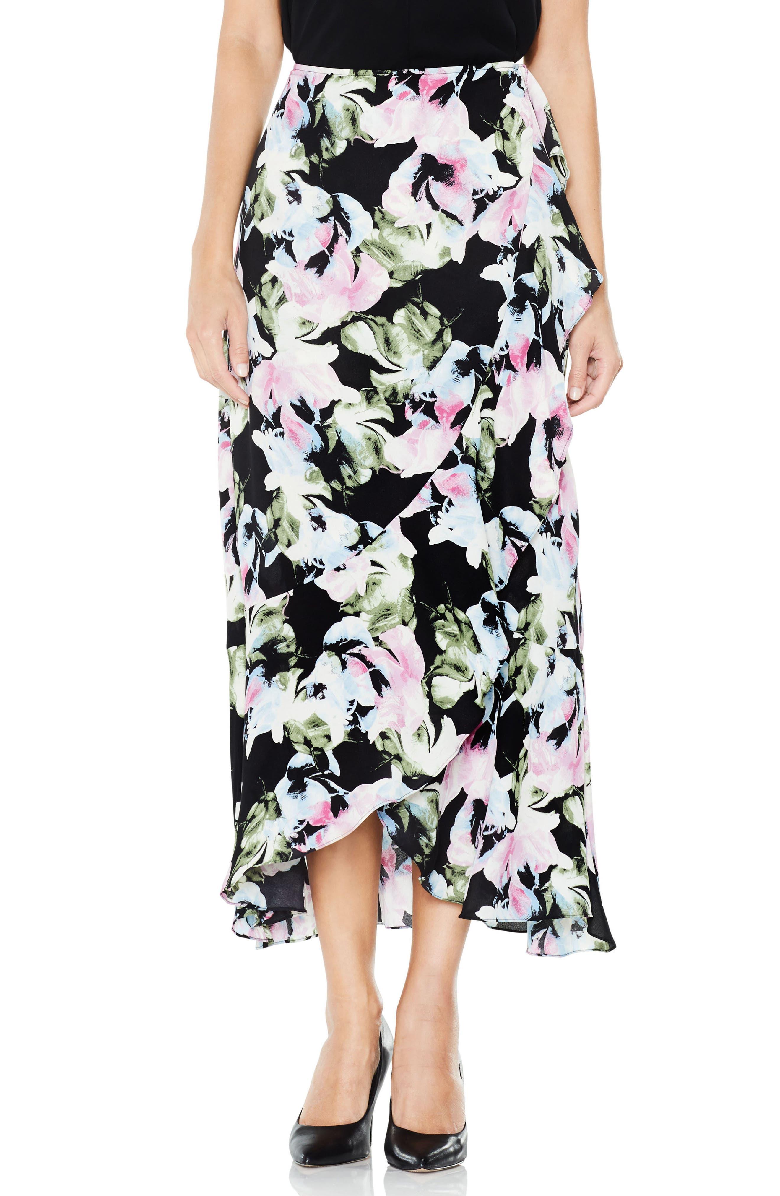 Glacier Floral Ruffle Skirt,                         Main,                         color, Rich Black