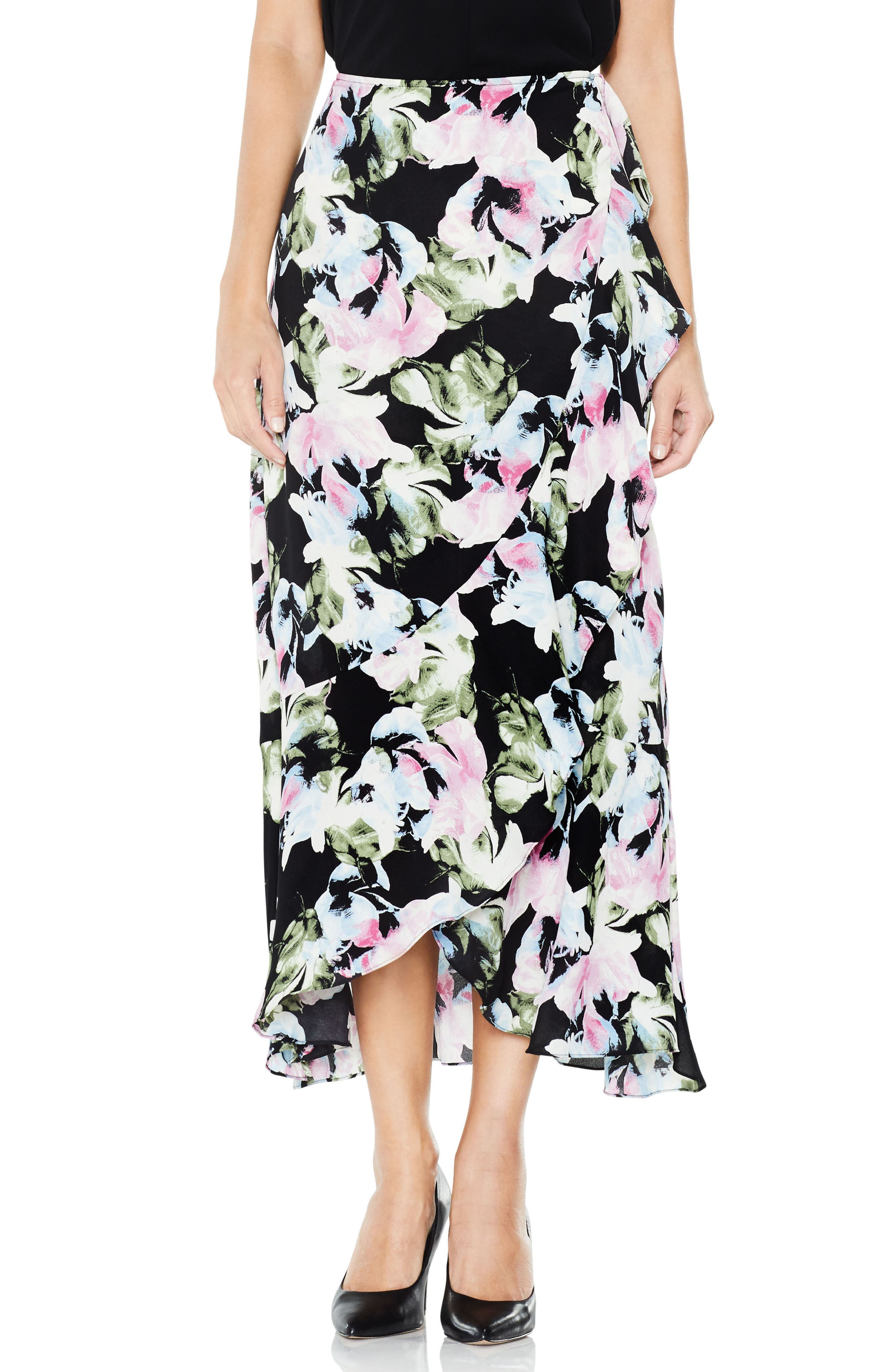 Vince Camuto Glacier Floral Ruffle Skirt