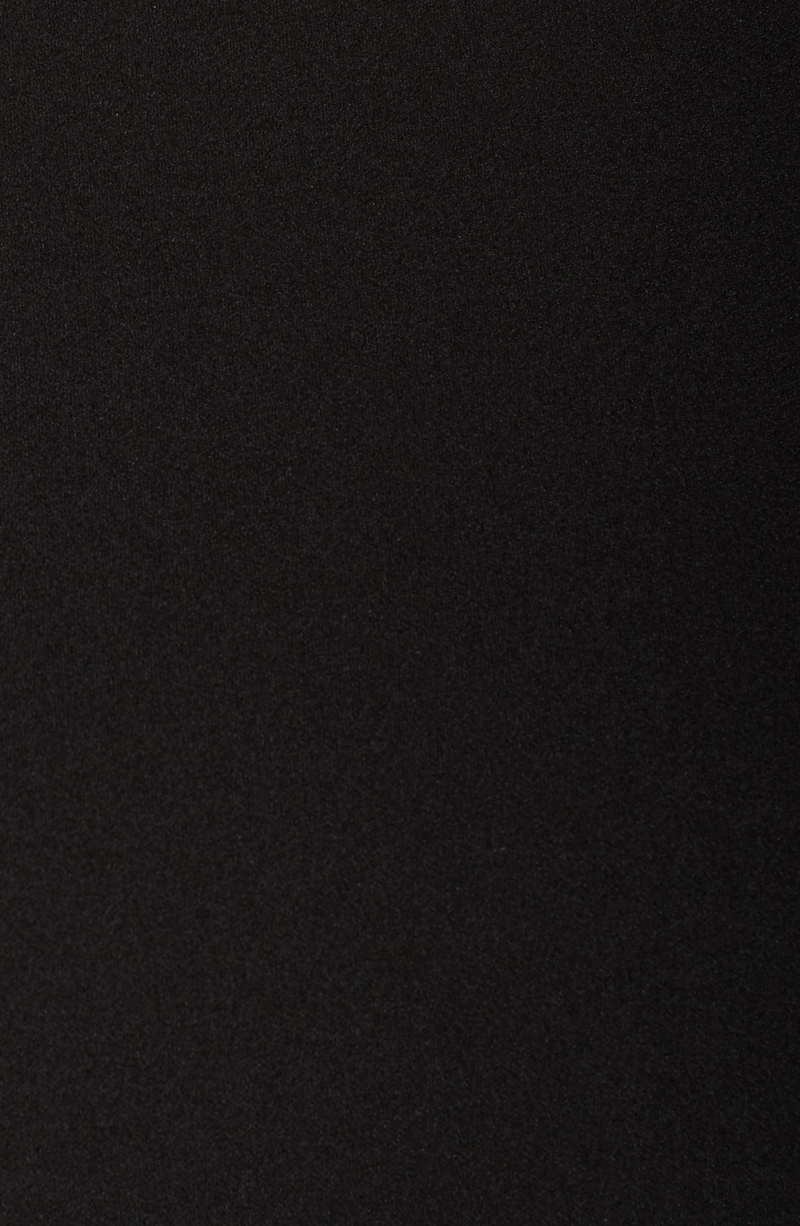 Mock Neck Fit & Flare Dress,                             Alternate thumbnail 5, color,                             Black