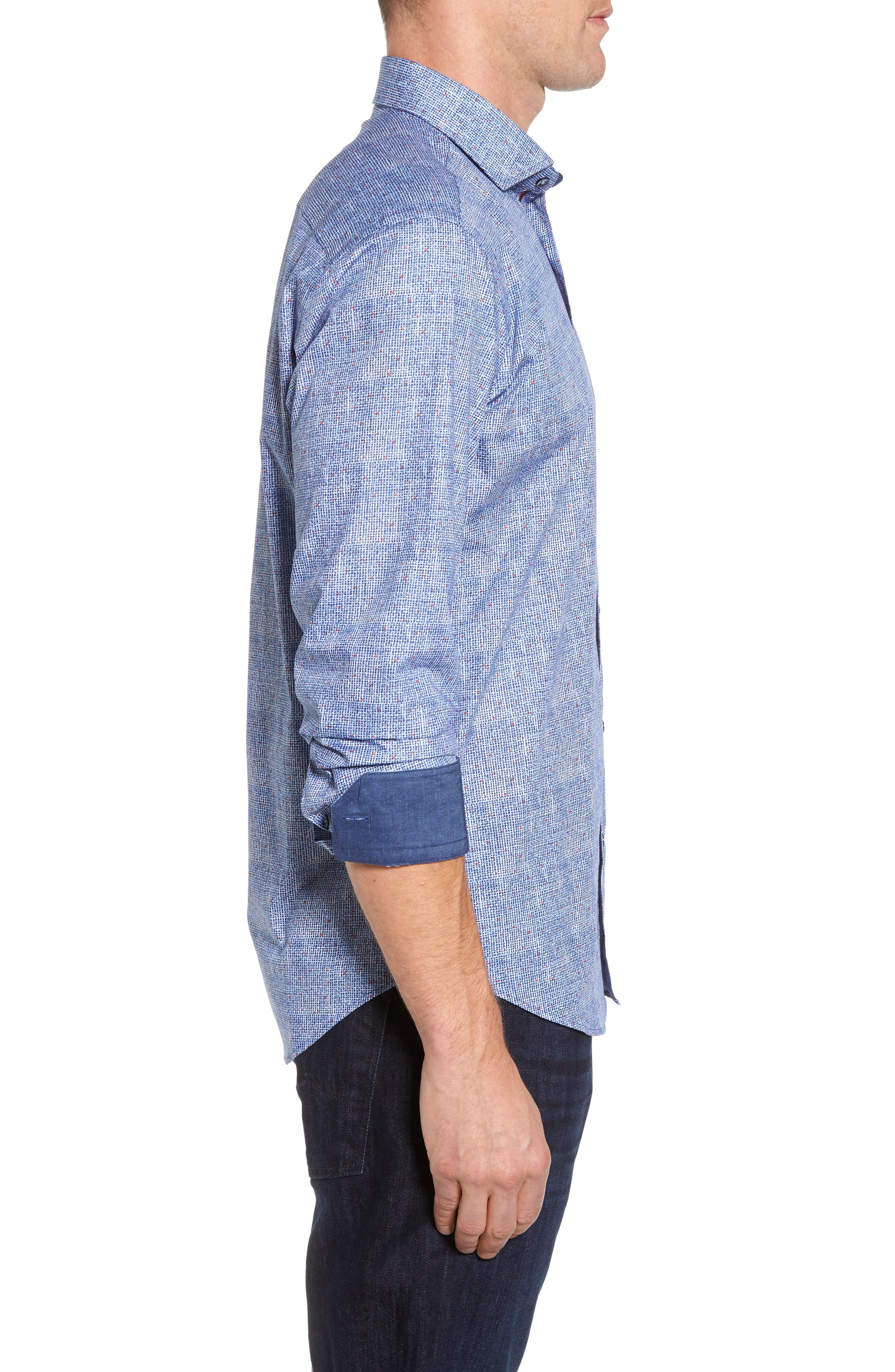 Shaped Fit Plaid Sport Shirt,                             Alternate thumbnail 3, color,                             Classic Blue