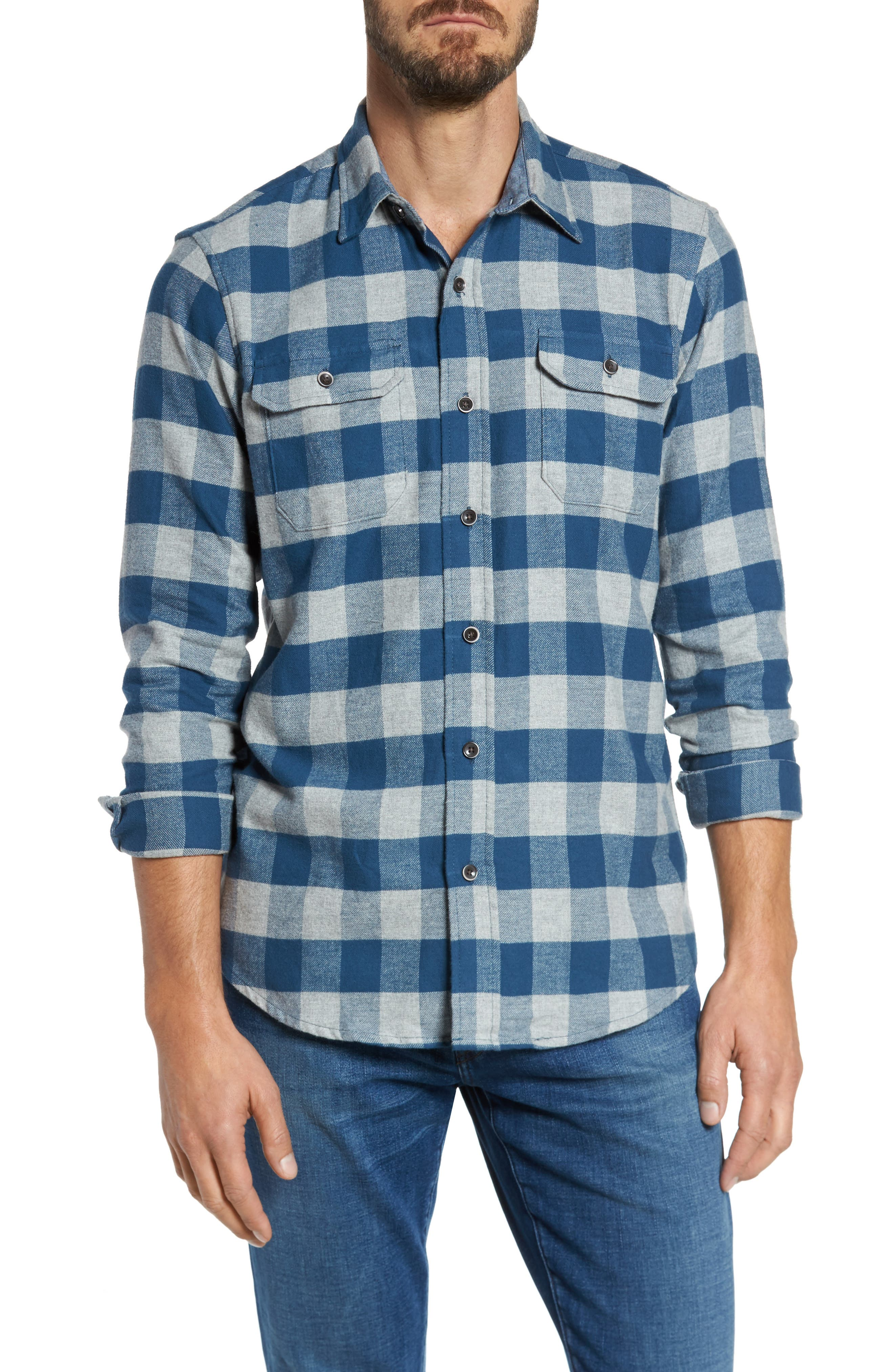 Buffalo Check Flannel Shirt,                         Main,                         color, Teal/ Med Grey Heather