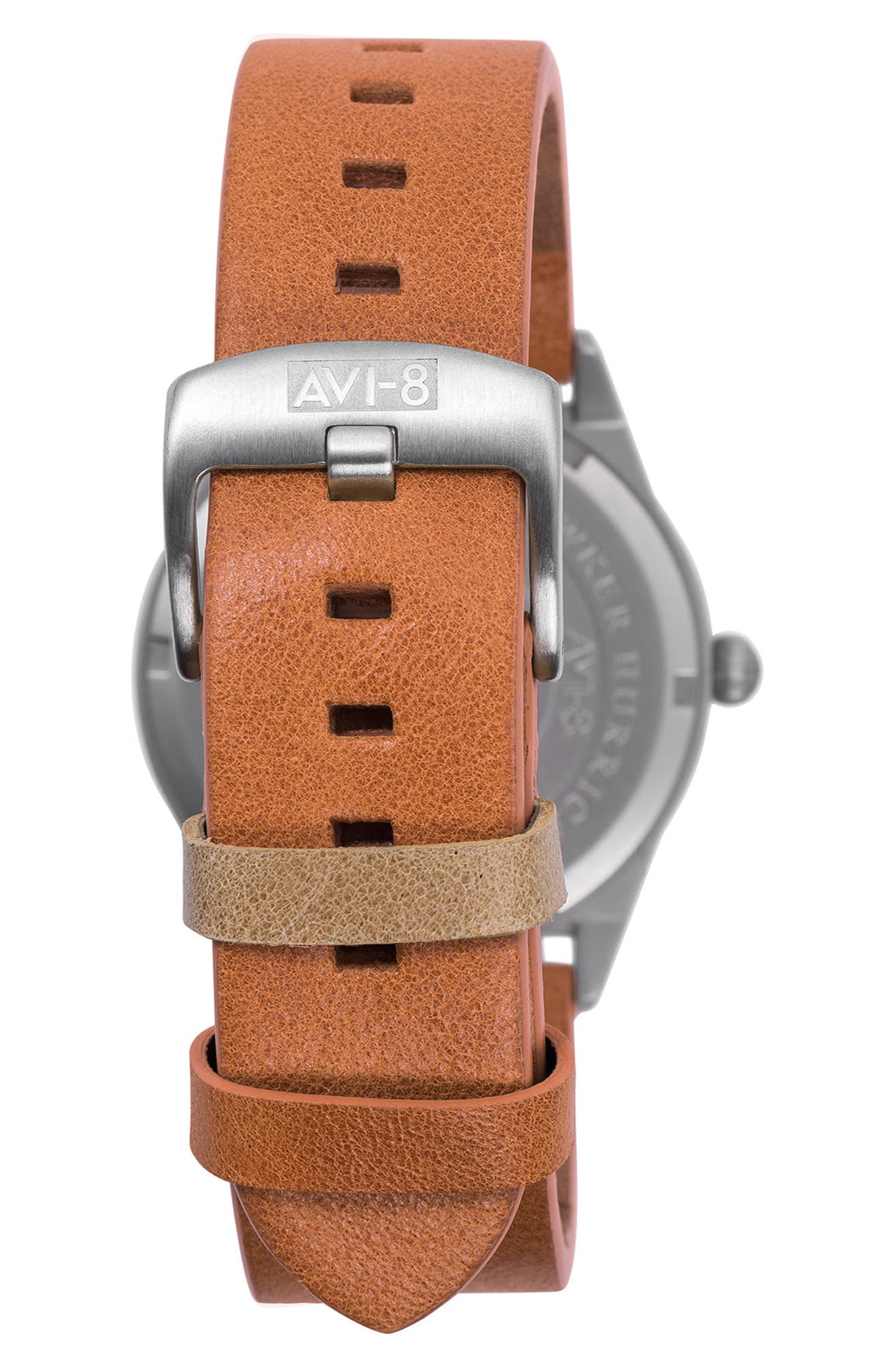 Alternate Image 2  - AVI-8 Hawker Hurricane Leather Strap Watch, 38mm