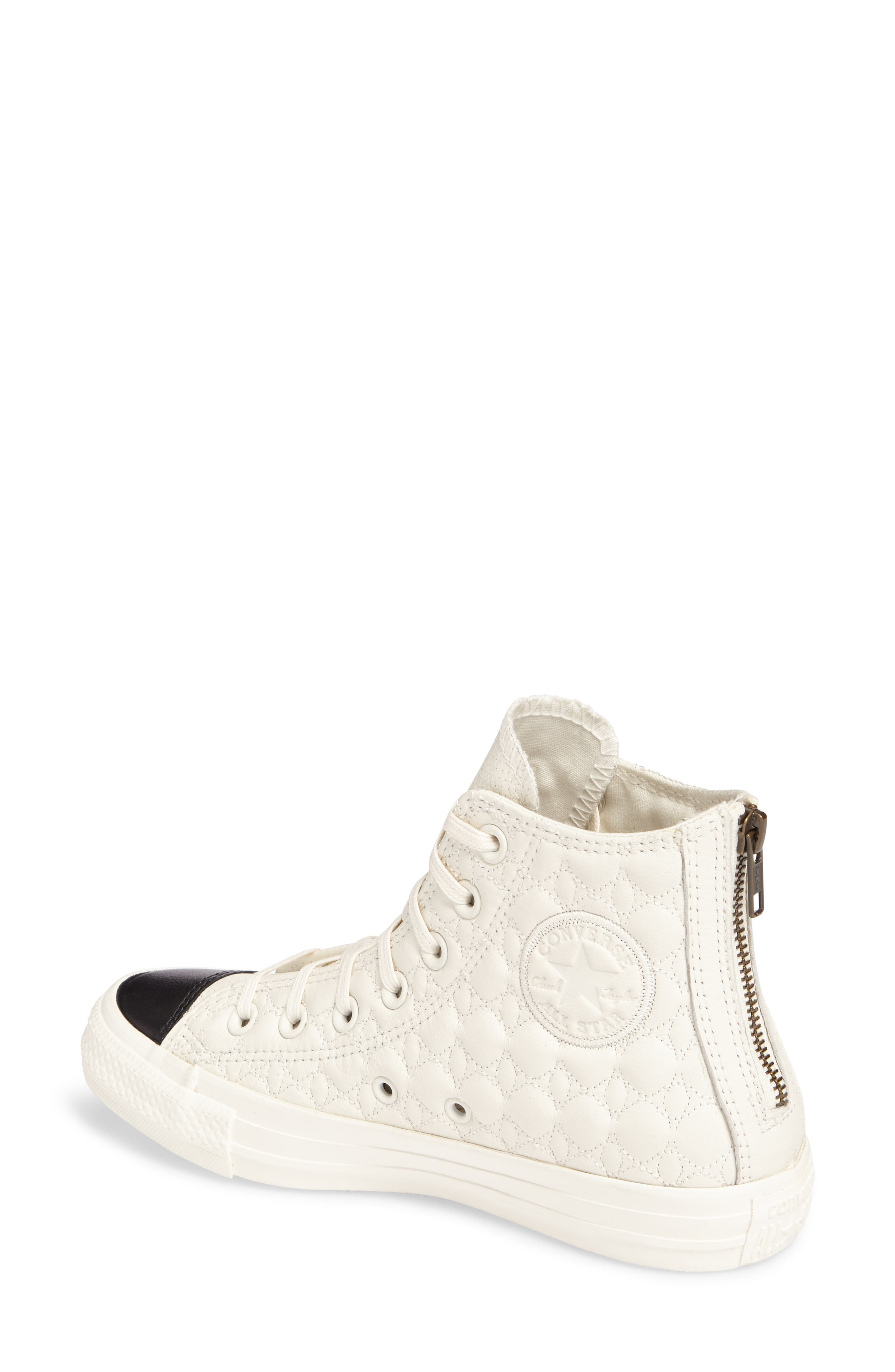 All Star<sup>®</sup> Quilted High Top Sneaker,                             Alternate thumbnail 2, color,                             Egret Leather
