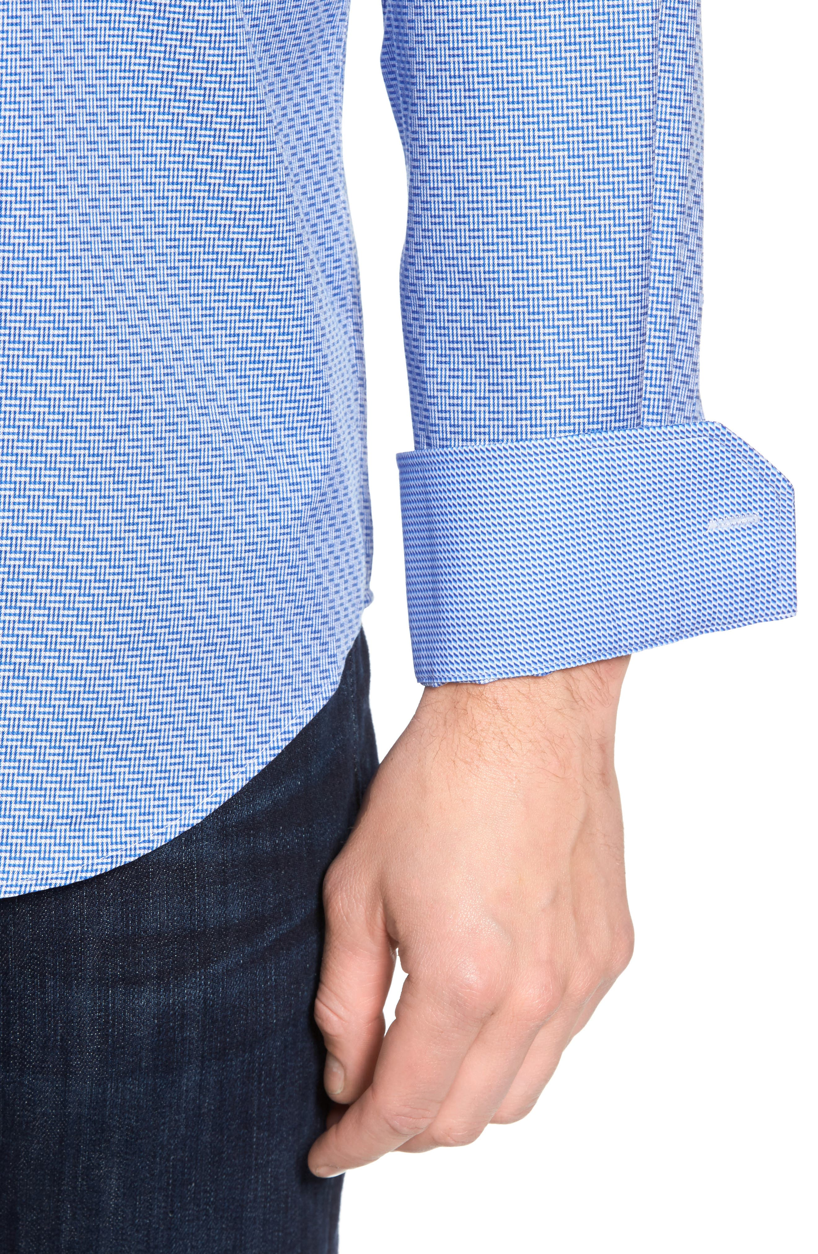 Shaped Fit Sport Shirt,                             Alternate thumbnail 2, color,                             Classic Blue