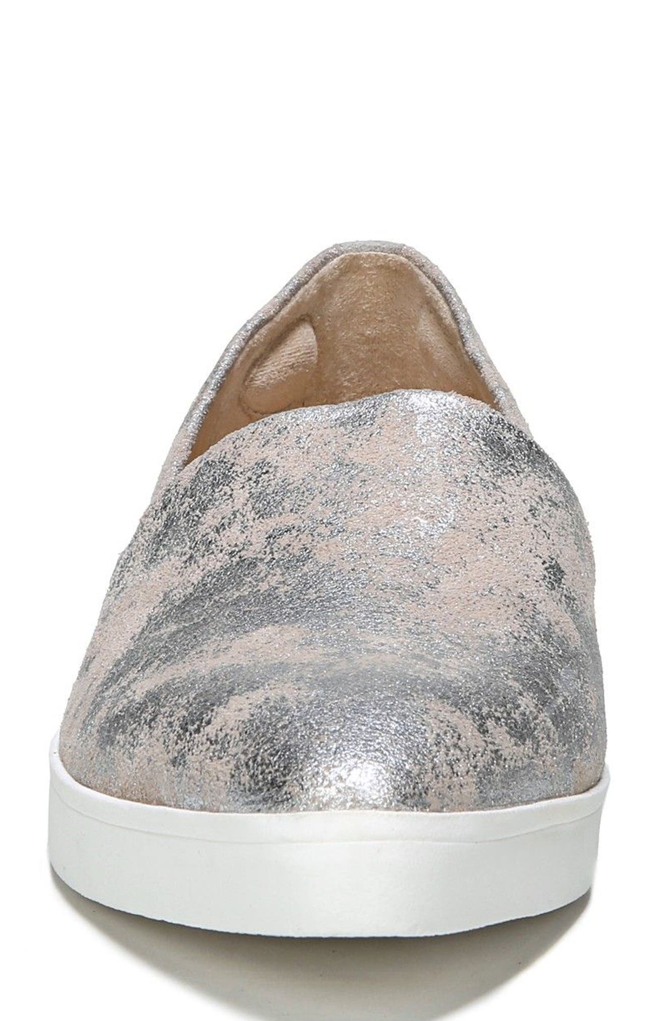 'Vienna' Slip-on Sneaker,                             Alternate thumbnail 4, color,                             Silver Leather