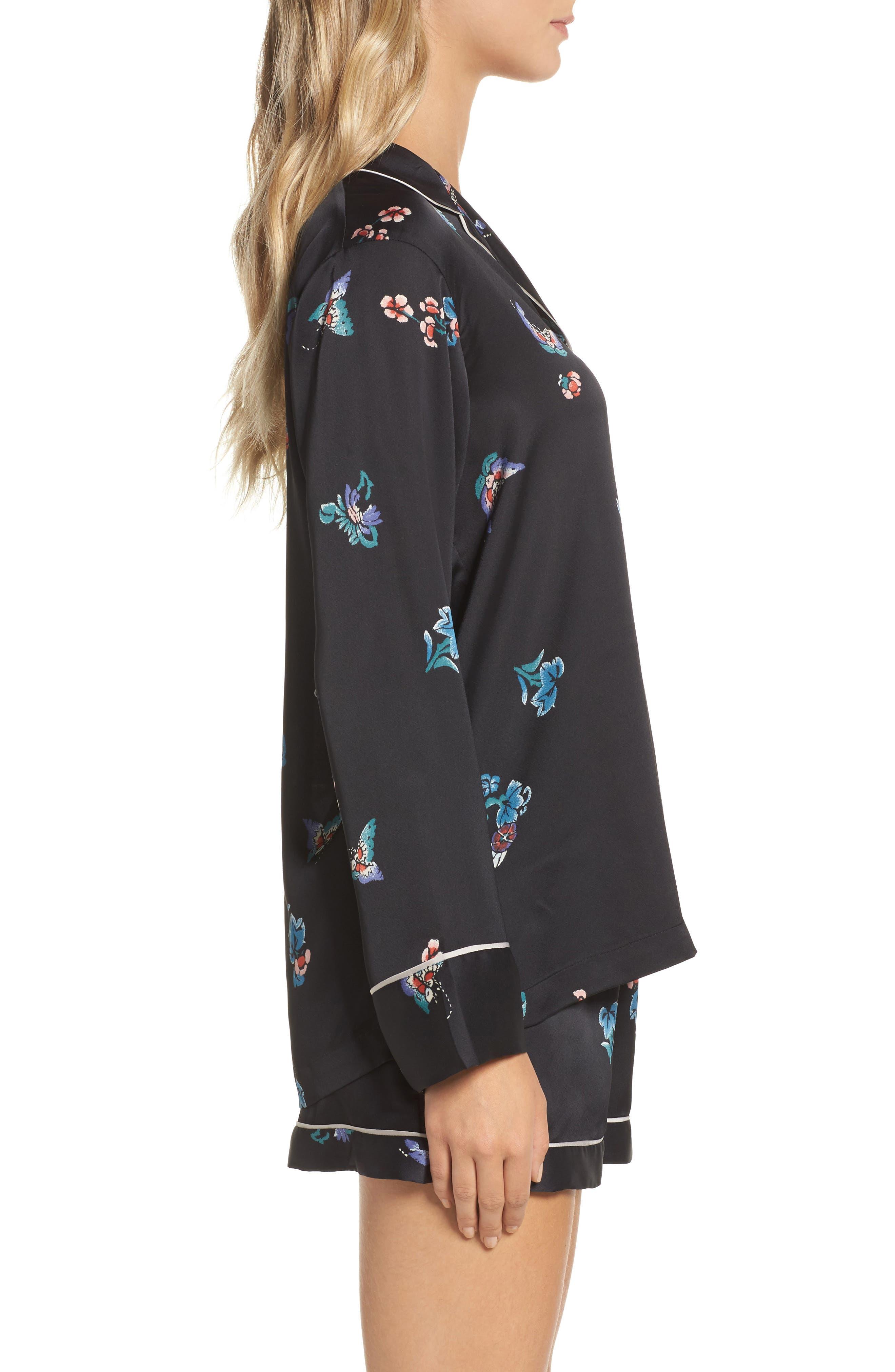 Papillon Print Short Pajamas,                             Alternate thumbnail 3, color,                             Blk Black Print