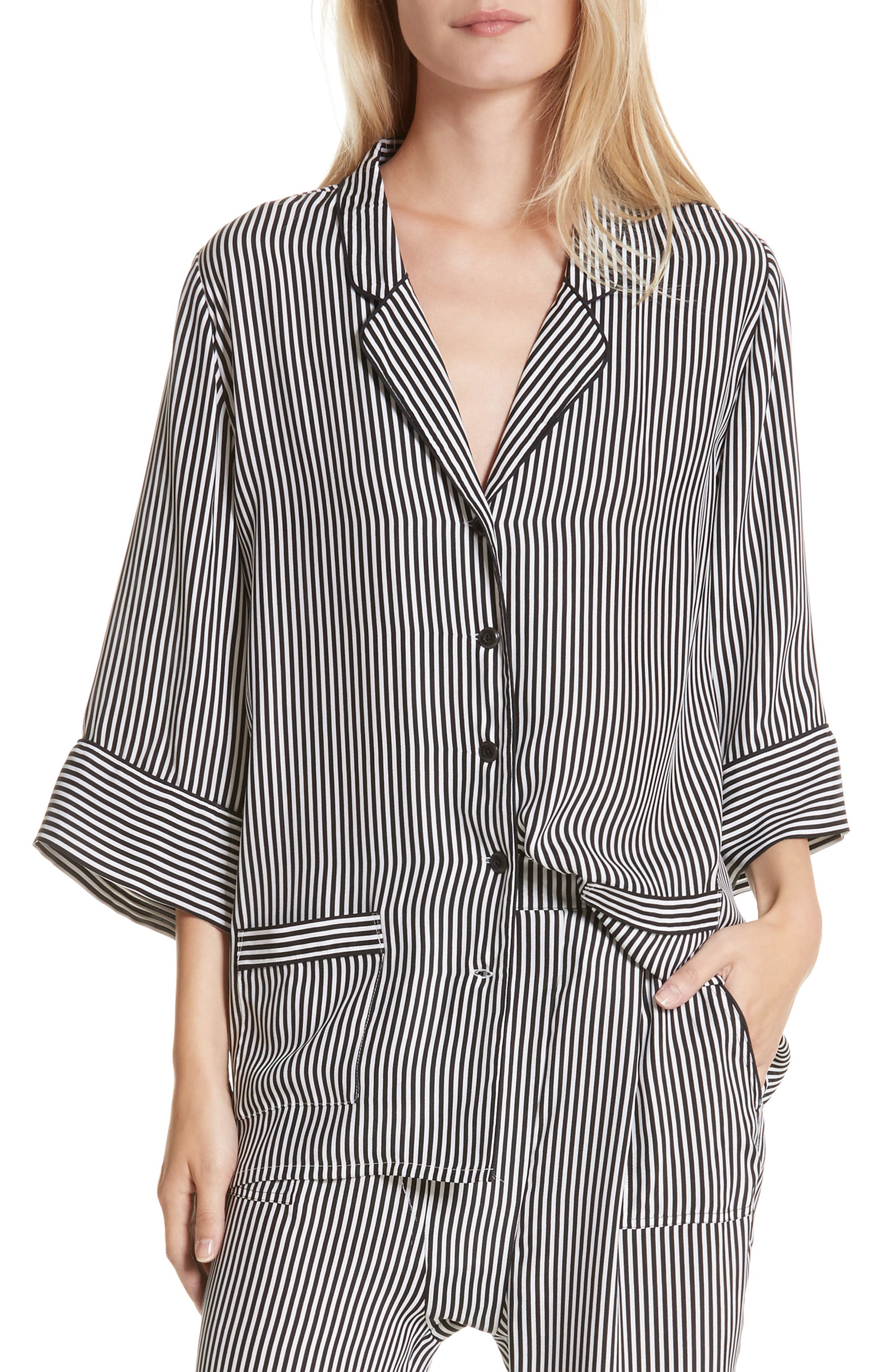 Main Image - THE GREAT. Pencil Stripe Silk Sleeper Shirt
