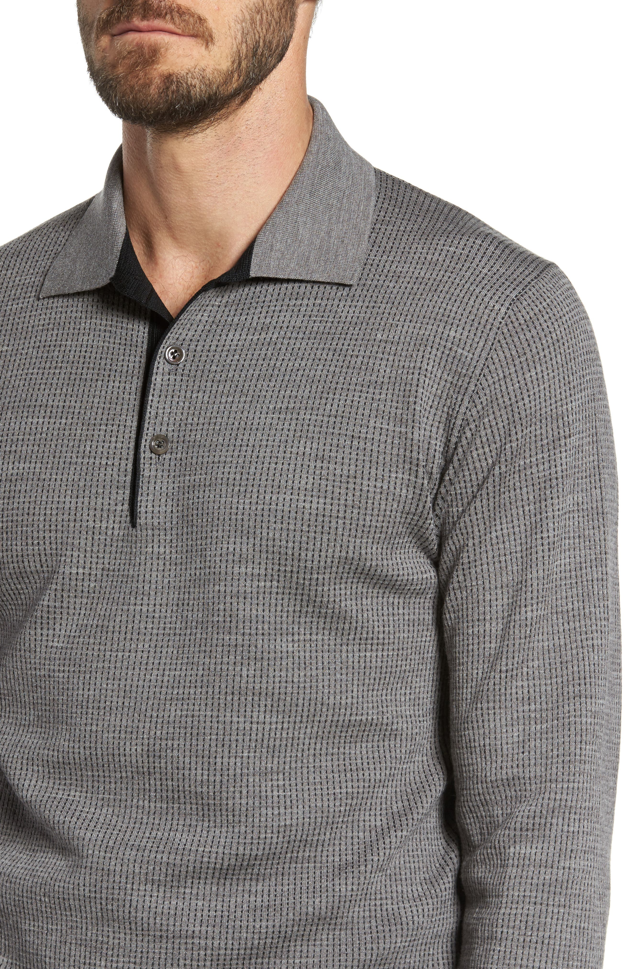 Grey Needlepoint Wool & Silk Polo Sweater,                             Alternate thumbnail 4, color,                             Grey