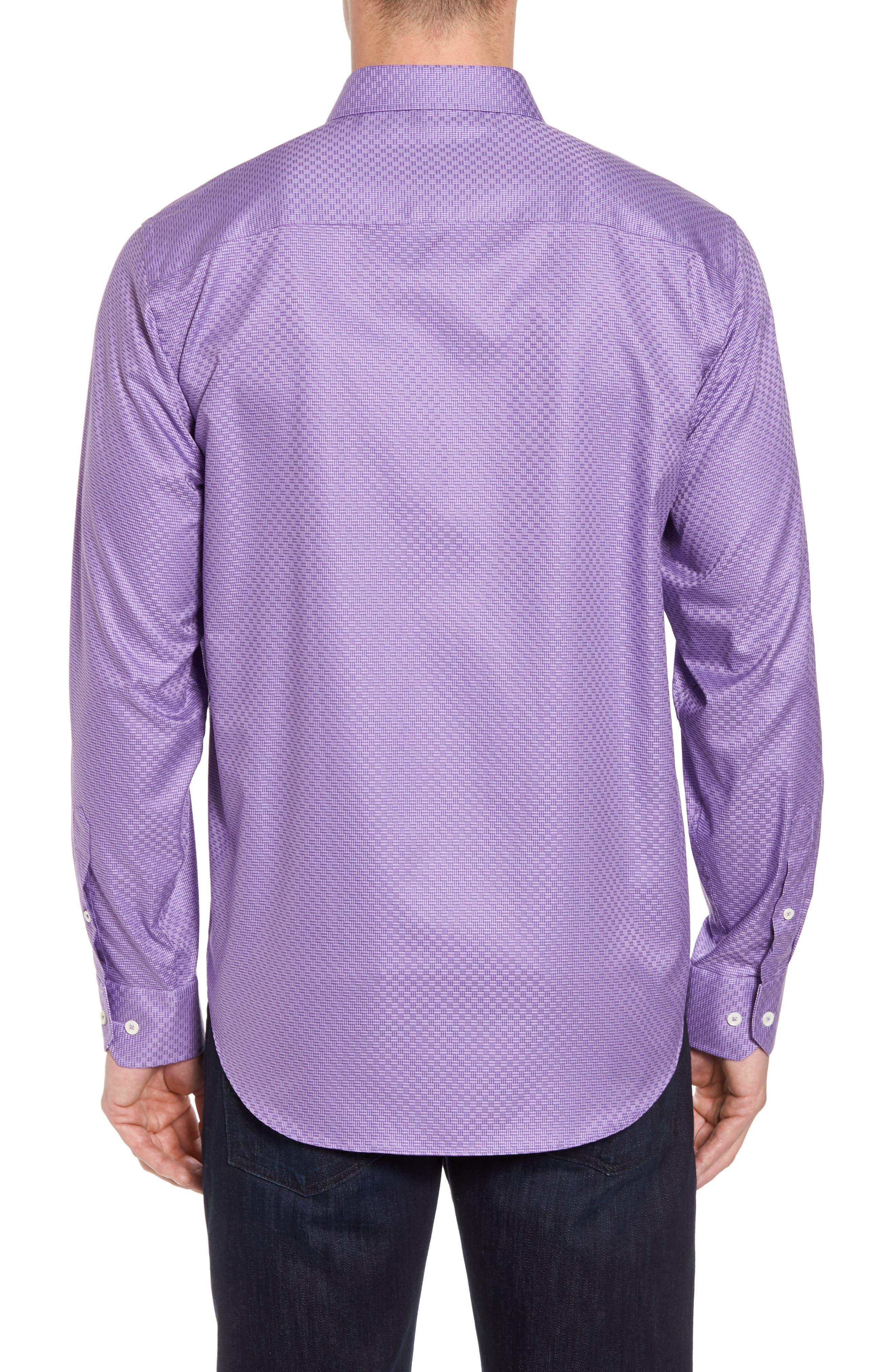 Classic Fit Print Sport Shirt,                             Alternate thumbnail 2, color,                             Orchid