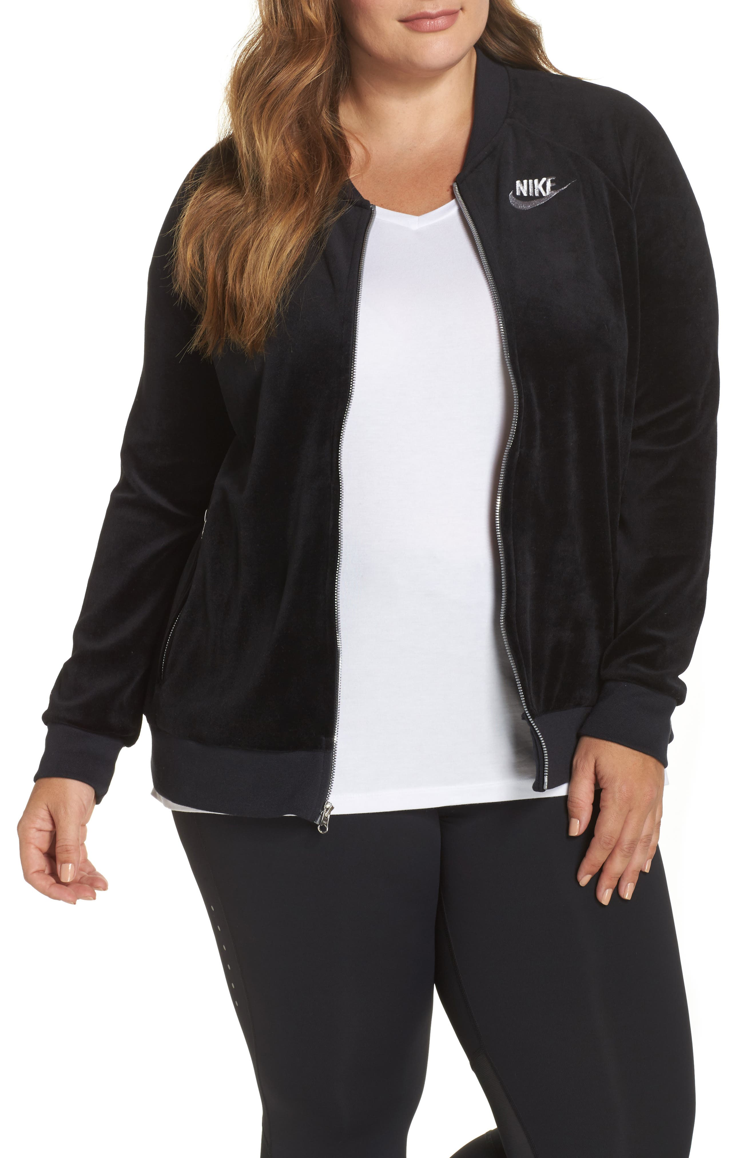 Velour Jacket,                             Main thumbnail 1, color,                             Black/ Metallic Silver