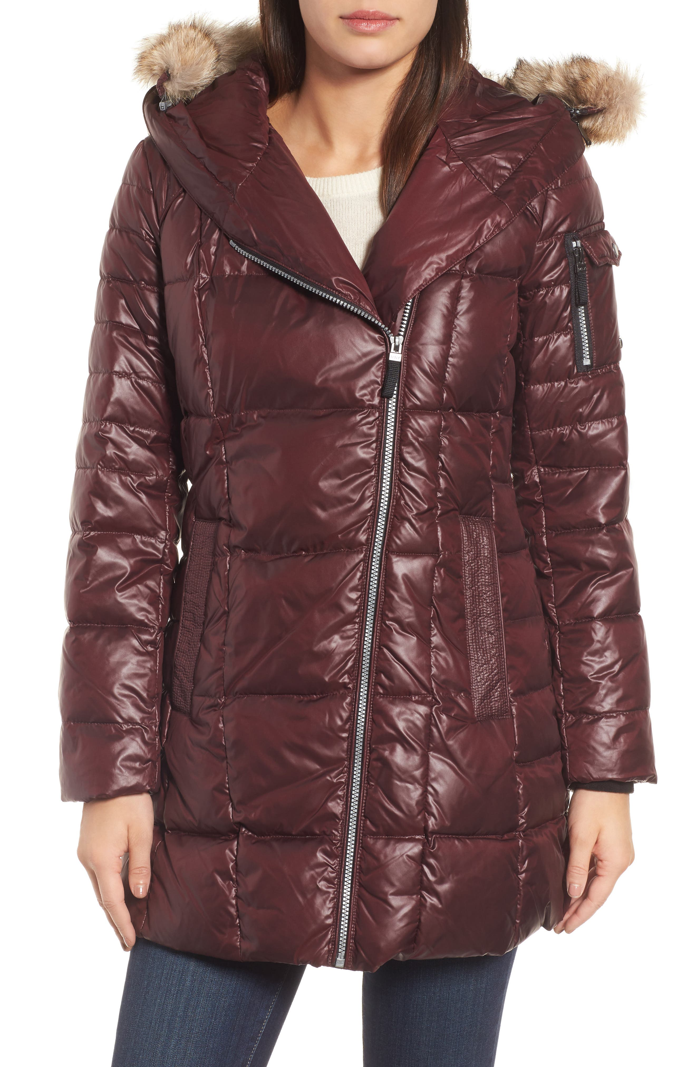 Andrew Marc Down & Feather Fill Coat with Genuine Coyote Fur