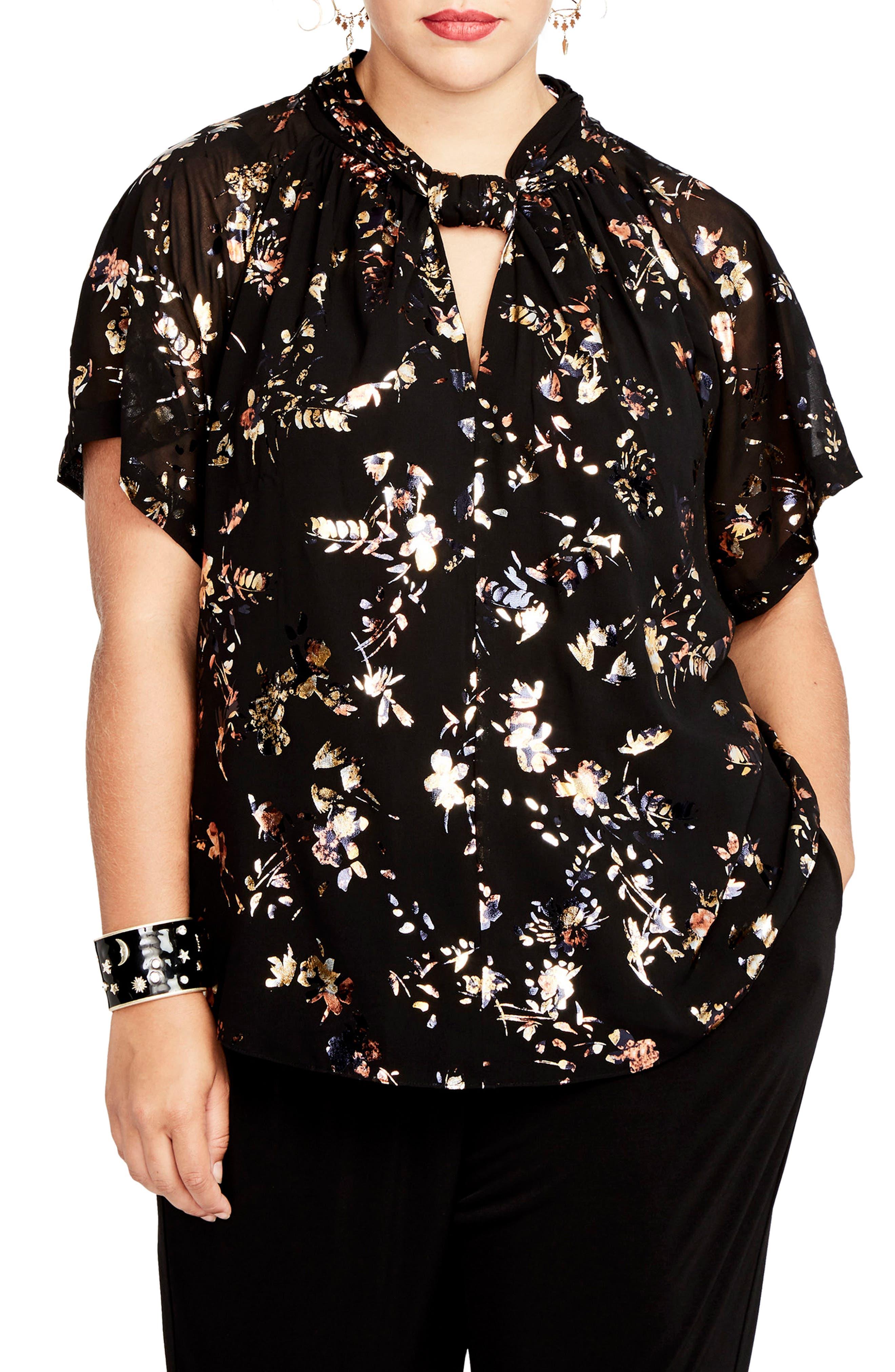 RACHEL Rachel Roy Foiled Print Kimono Top (Plus Size)
