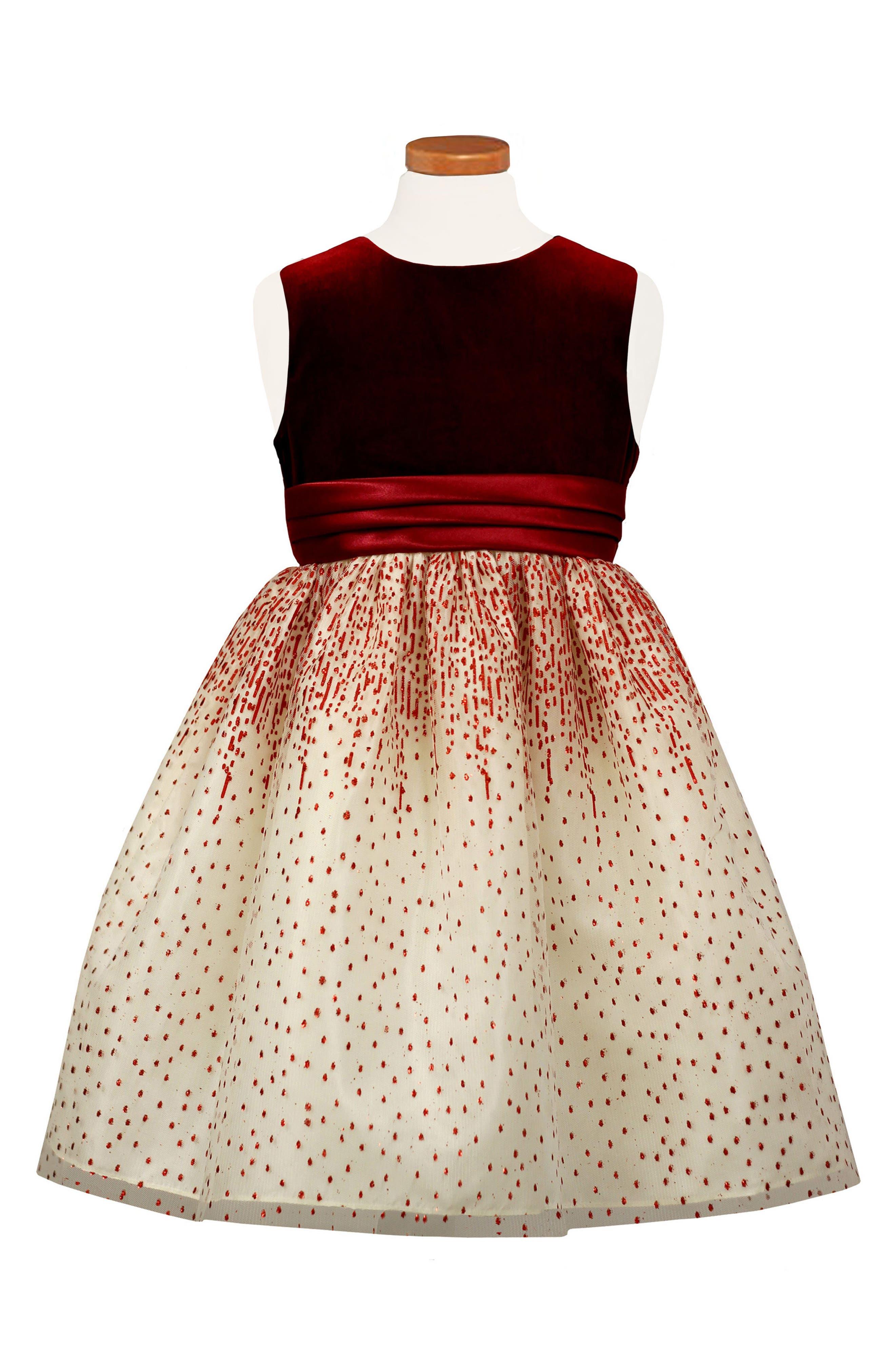 Velvet Bodice Party Dress,                             Main thumbnail 1, color,                             Red