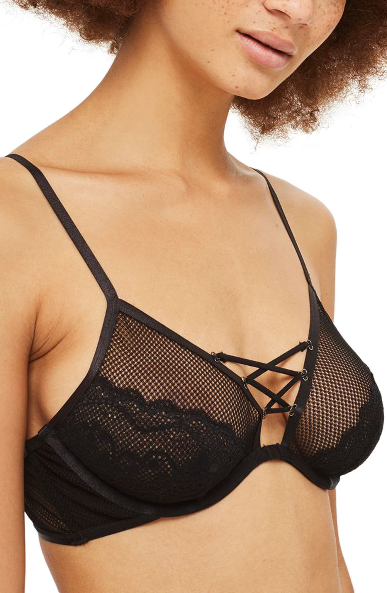 Chloe Underwire Lattice Bra,                             Alternate thumbnail 3, color,                             Black