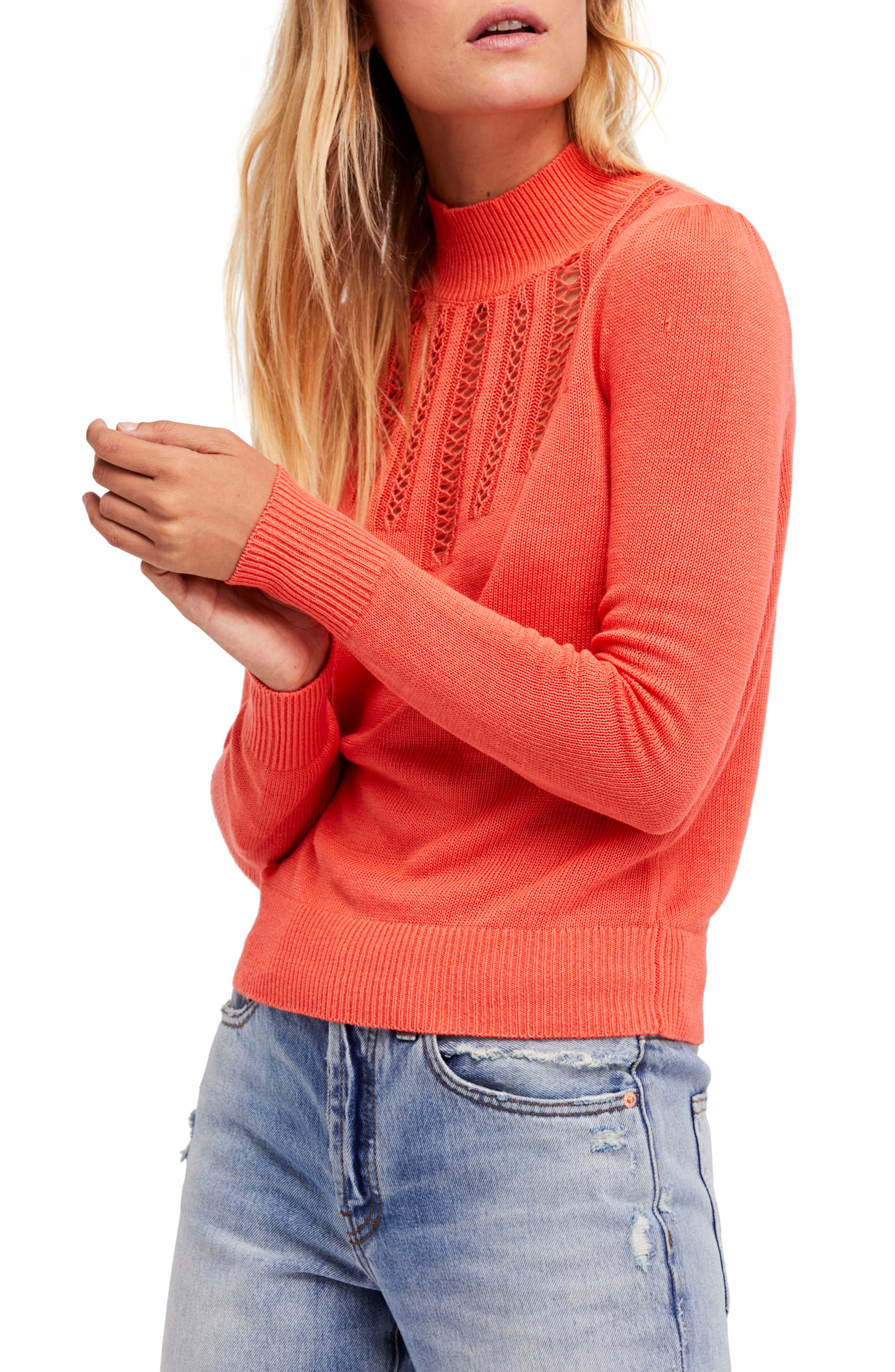 Time After Time Sweater,                         Main,                         color, Coral