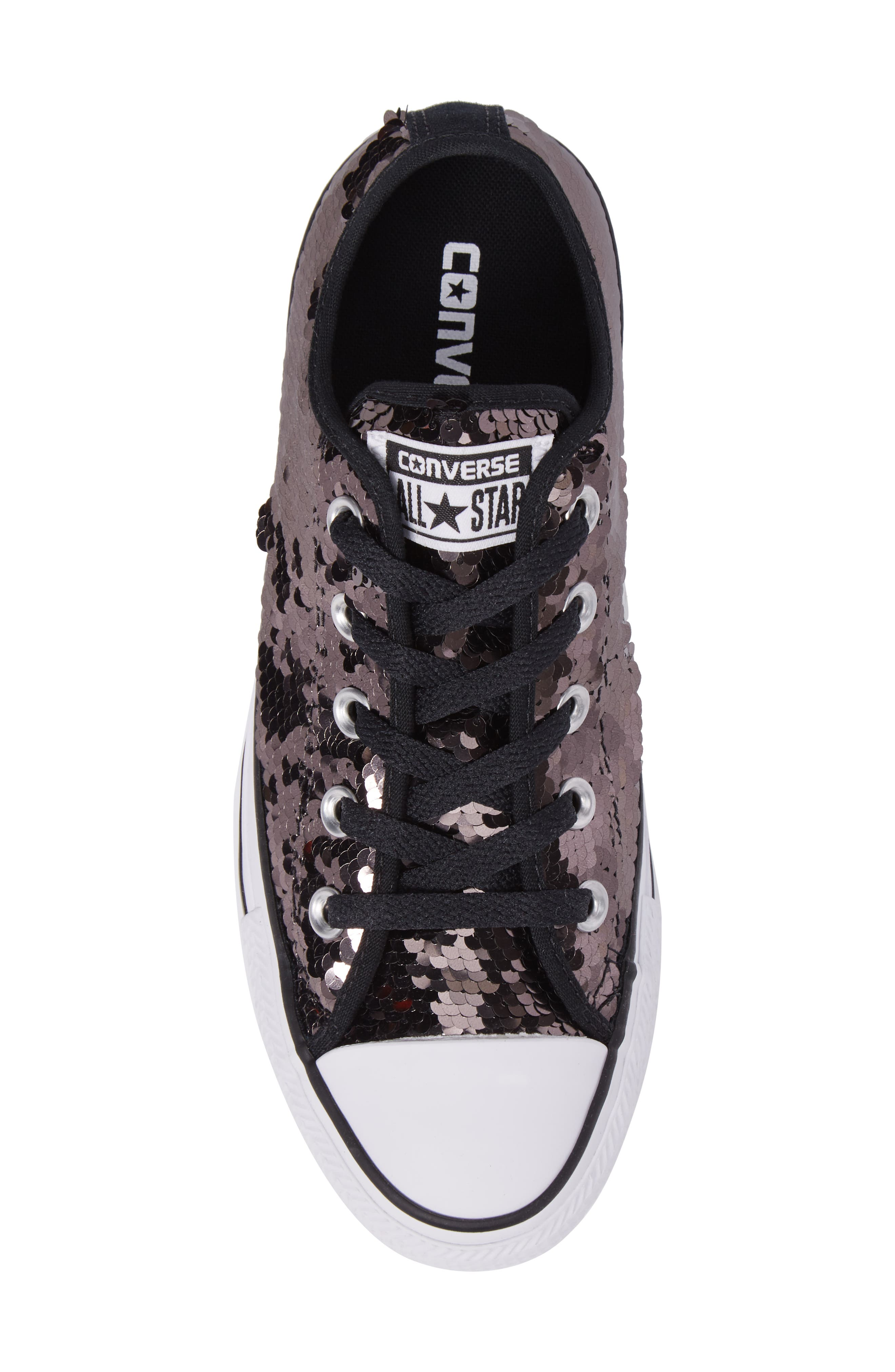 Chuck Taylor<sup>®</sup> All Star<sup>®</sup> Sequin Low Top Sneaker,                             Alternate thumbnail 5, color,                             Gunmetal Sequins
