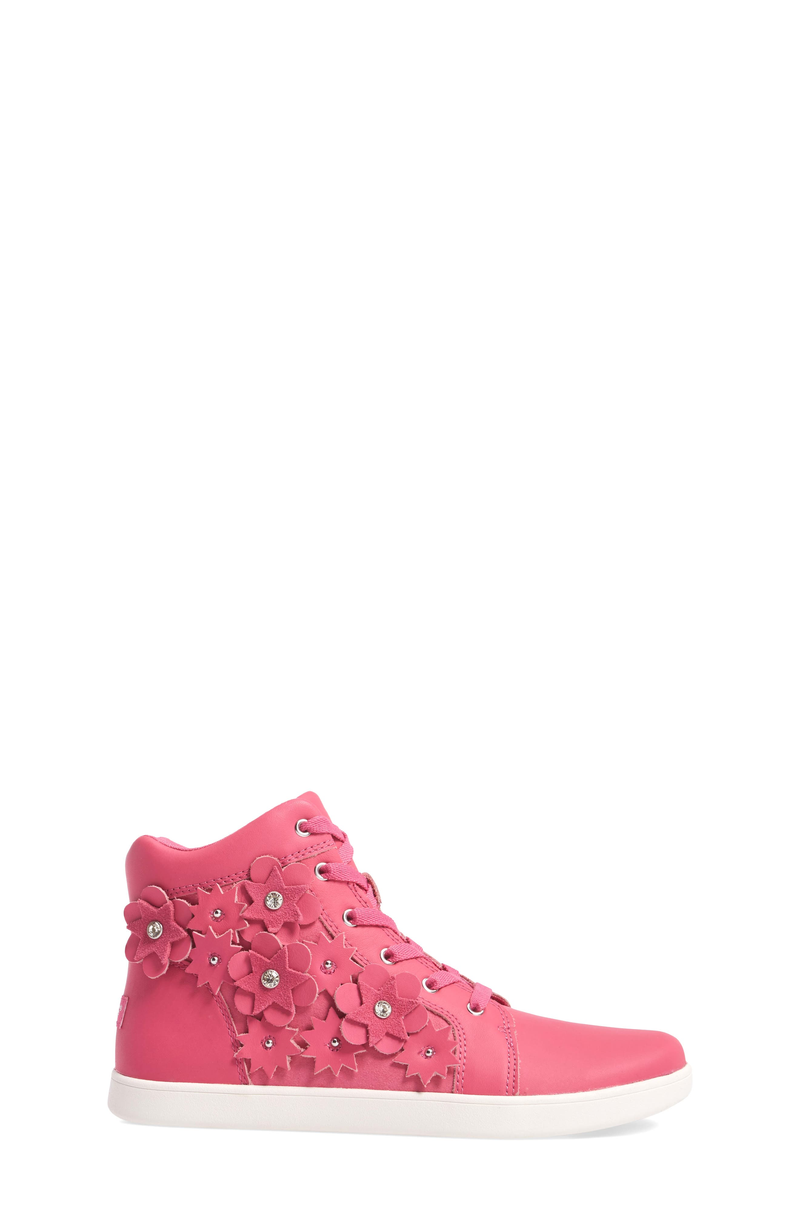 Alternate Image 3  - UGG® Schyler Petal Embellished High Top Sneaker (Little Kid & Big Kid)