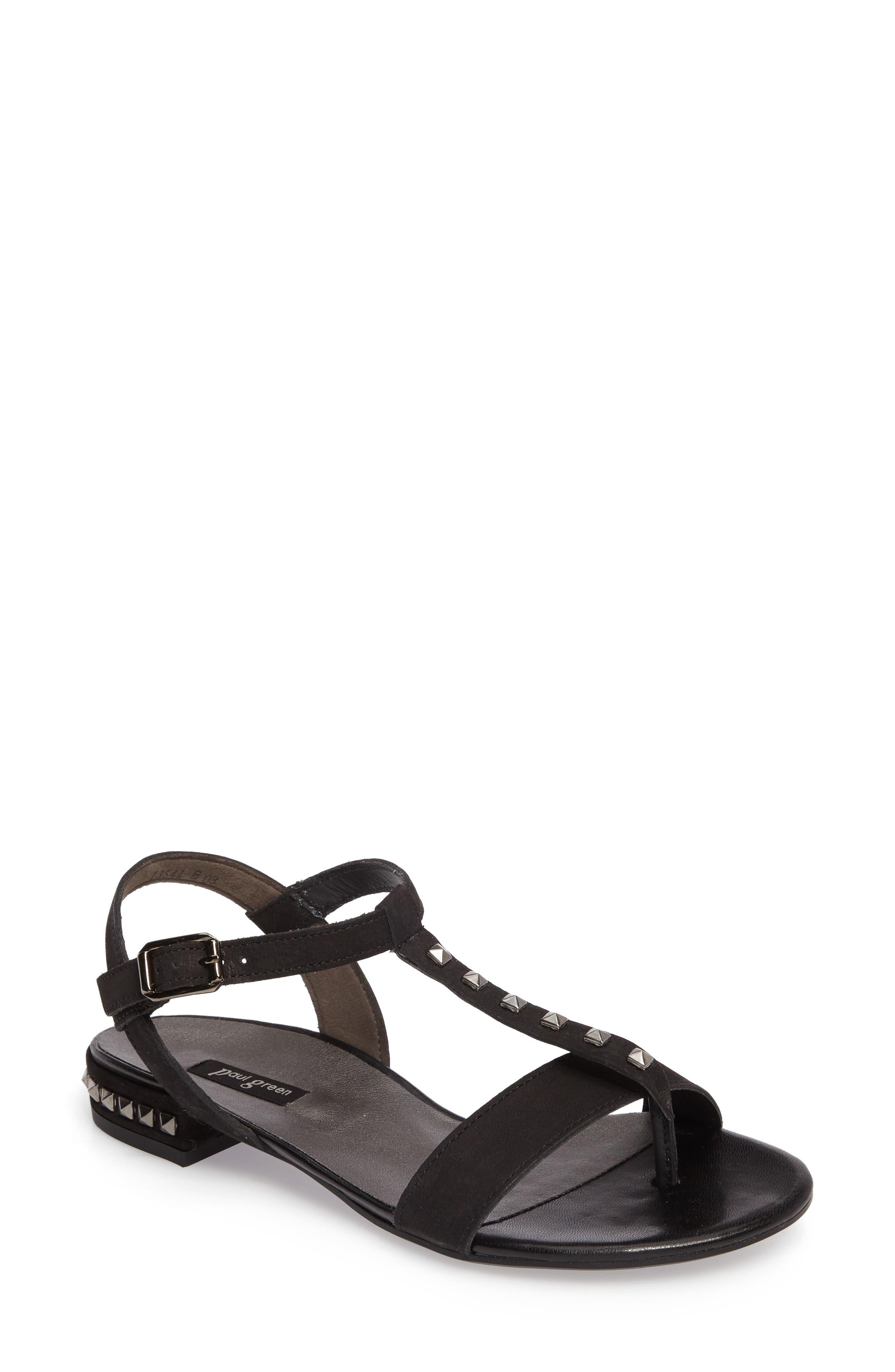 Nepal T-Strap Sandal,                             Main thumbnail 1, color,                             Black Nubuck