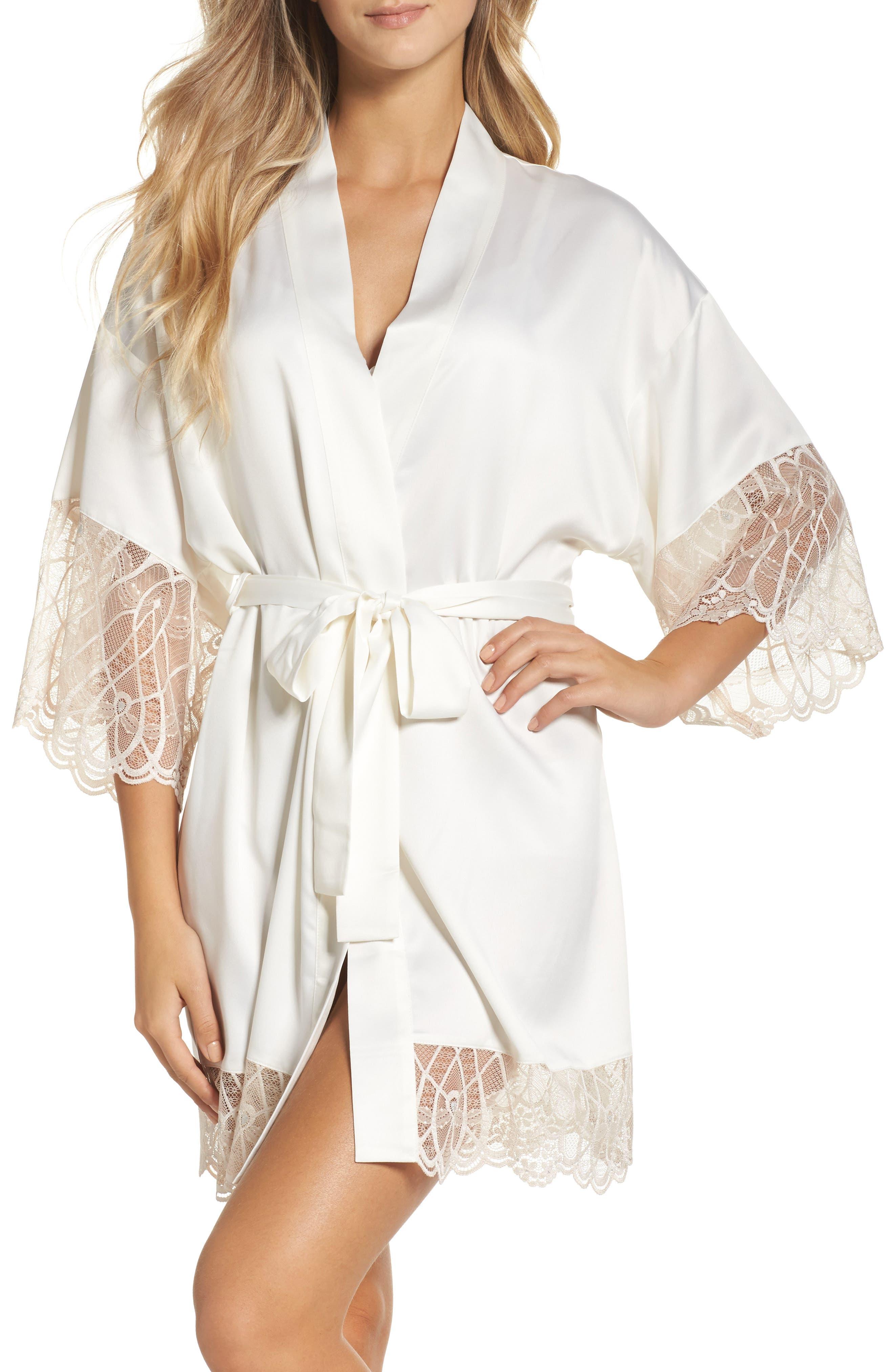 Gabby Satin Kimono Robe,                         Main,                         color, Ivory