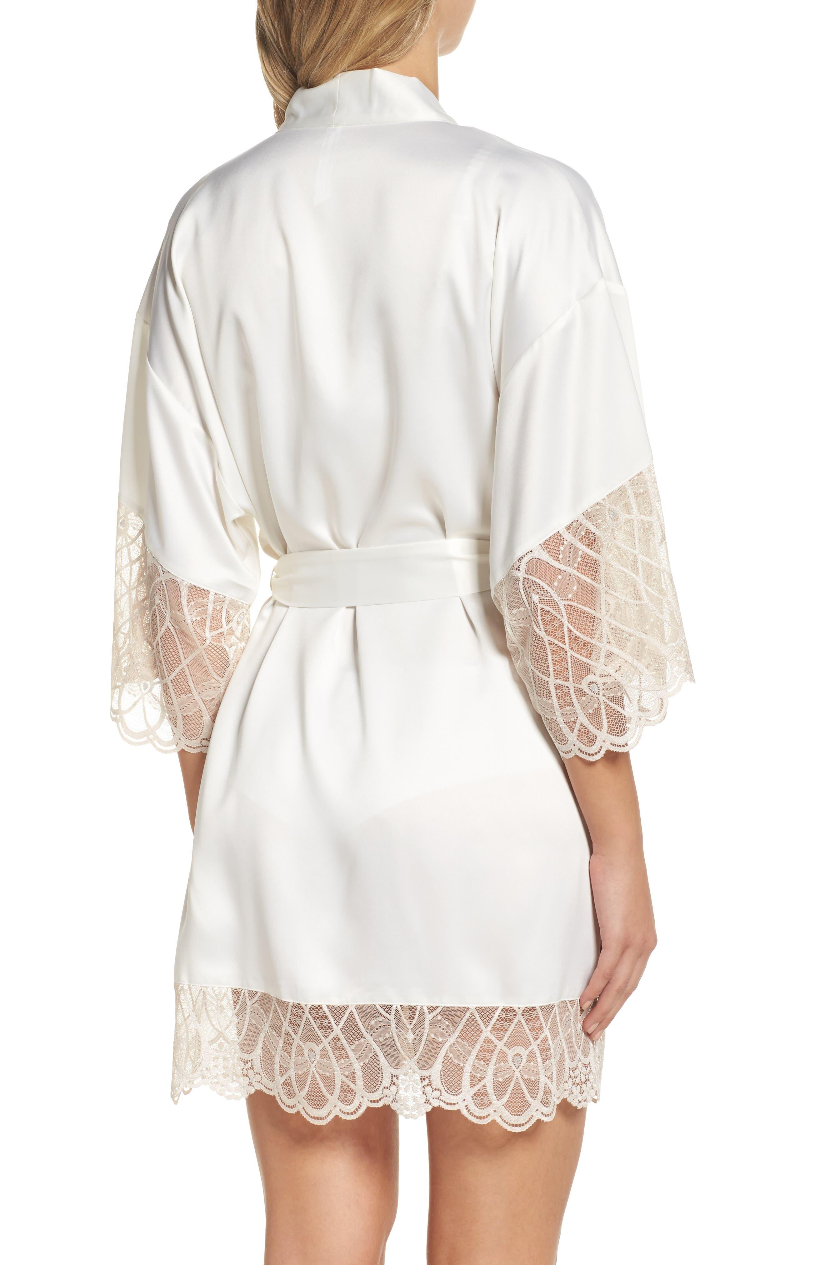Gabby Satin Kimono Robe,                             Alternate thumbnail 2, color,                             Ivory