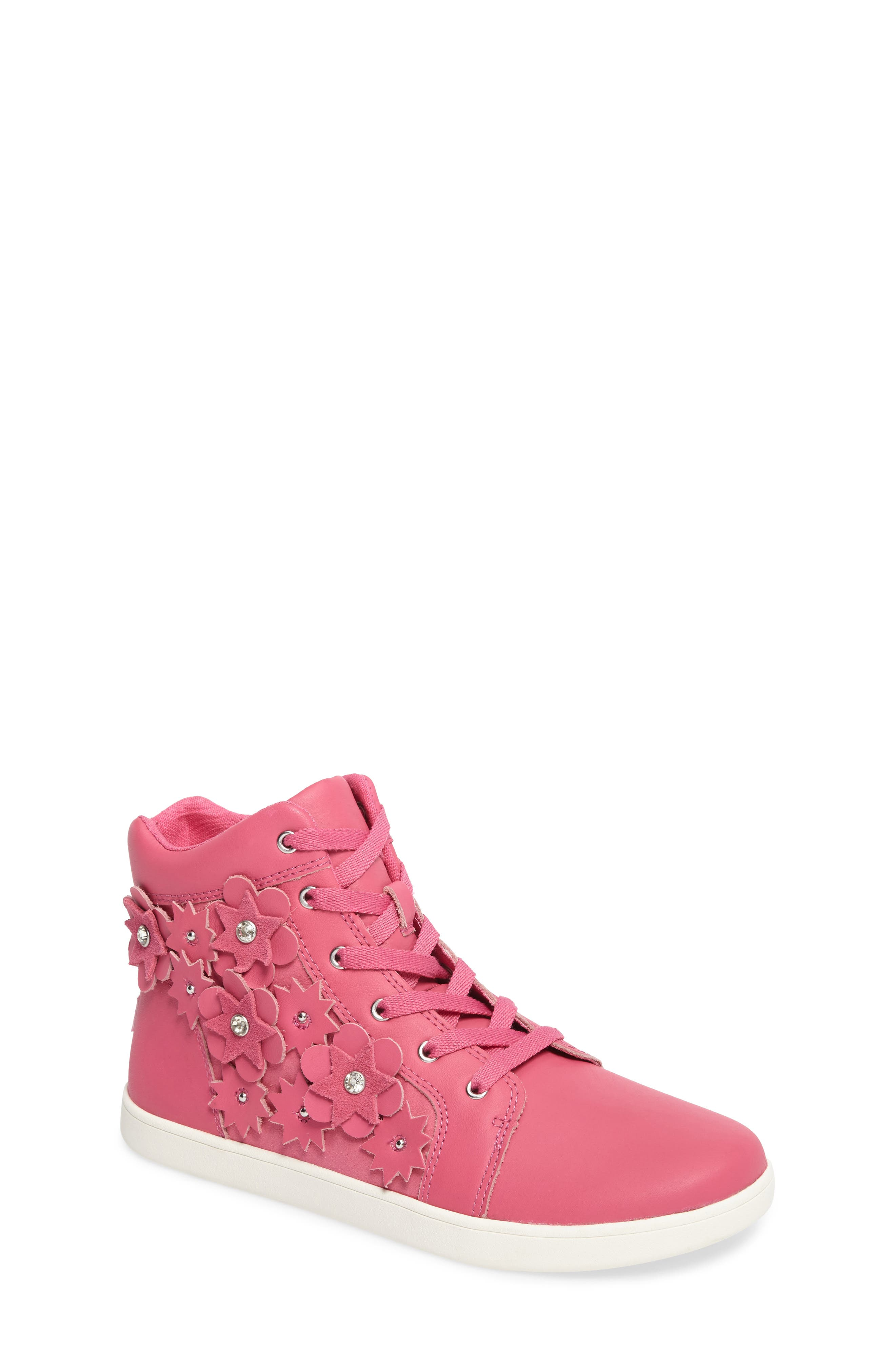 Alternate Image 1 Selected - UGG® Schyler Petal Embellished High Top Sneaker (Little Kid & Big Kid)