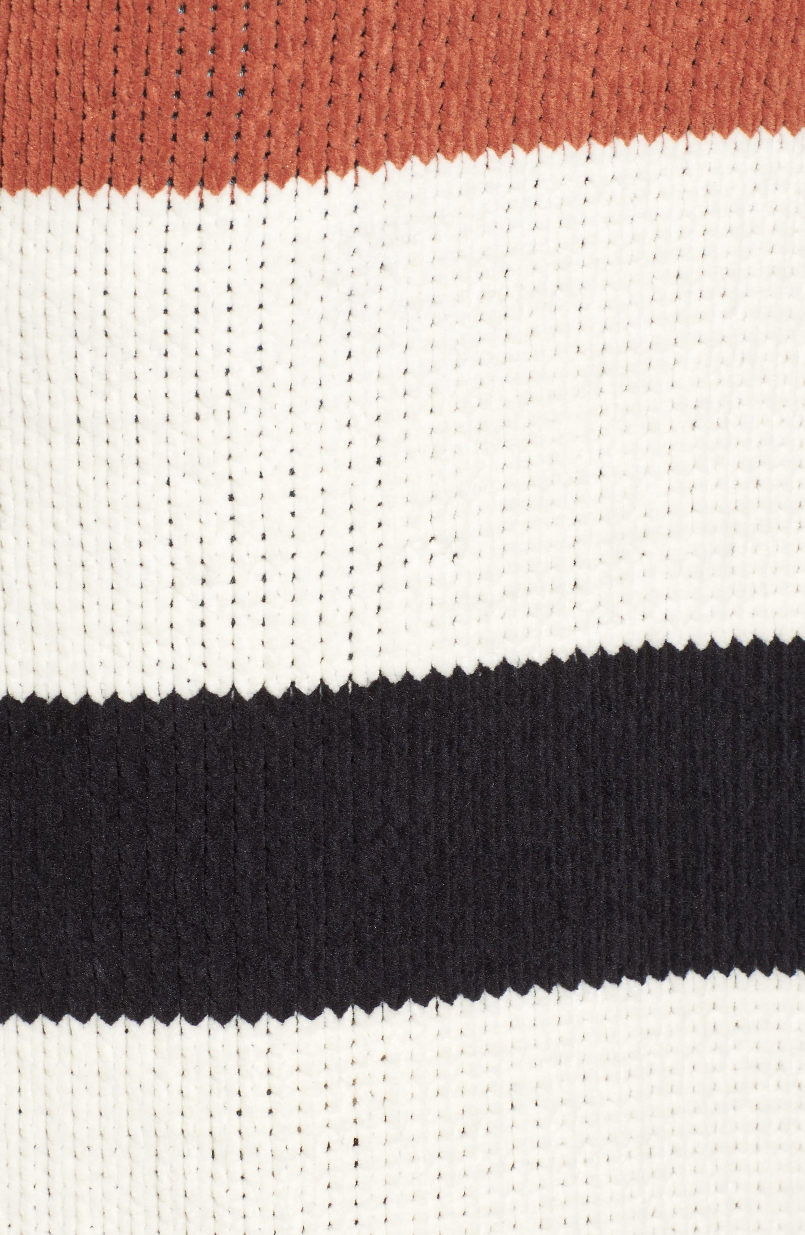 Belted Stripe Knit Duster,                             Alternate thumbnail 5, color,                             Black Stripe