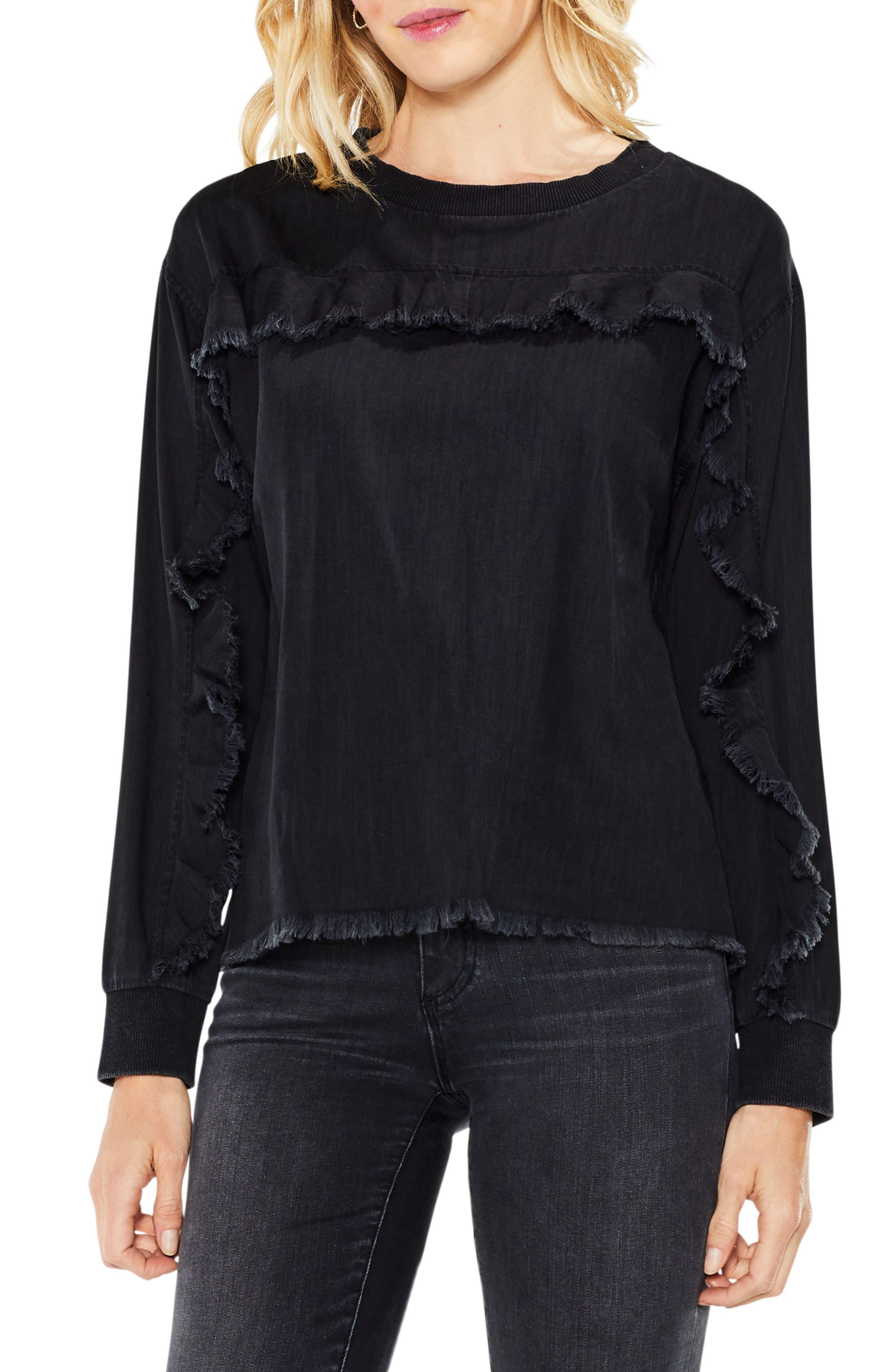 Ruffle Yoke Denim Top,                         Main,                         color, Washed Black