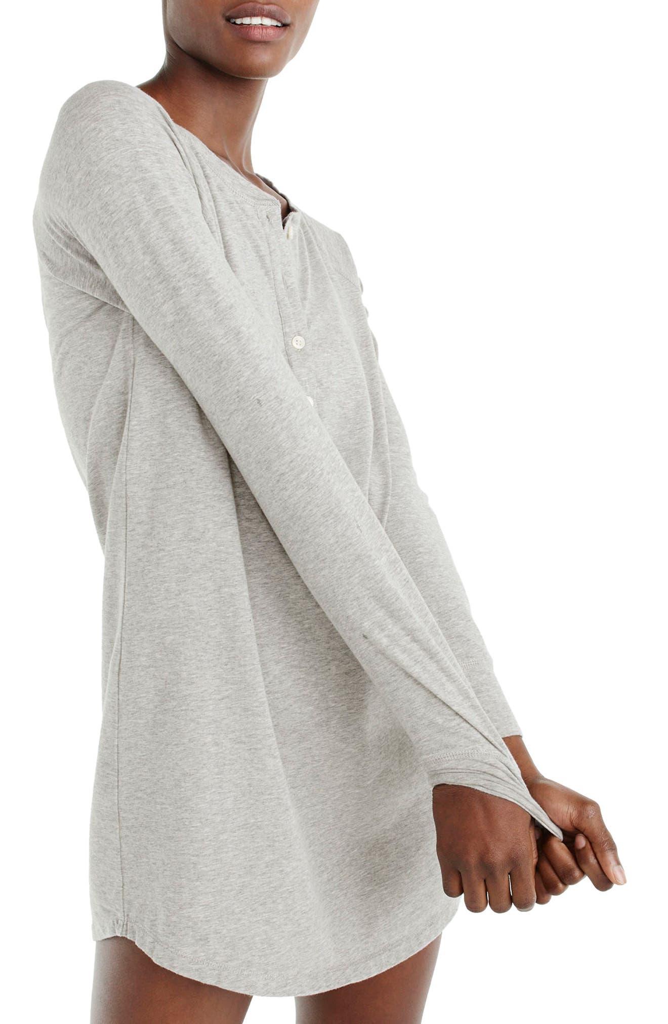 Knit Sleep Shirt,                             Alternate thumbnail 2, color,                             Heather Grey