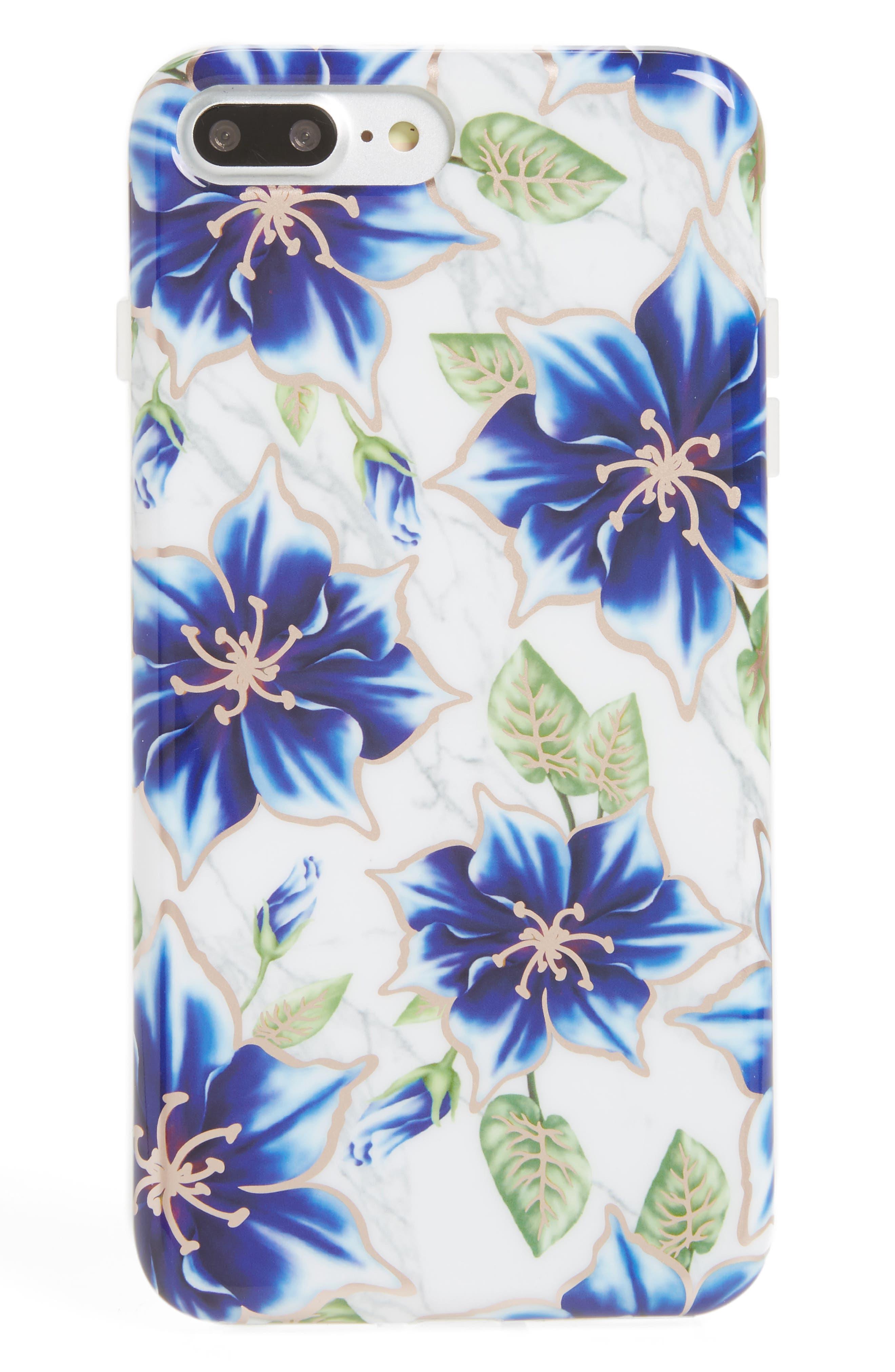 Blue Lily Floral Marble iPhone 7/8 Plus Case,                         Main,                         color, Blue
