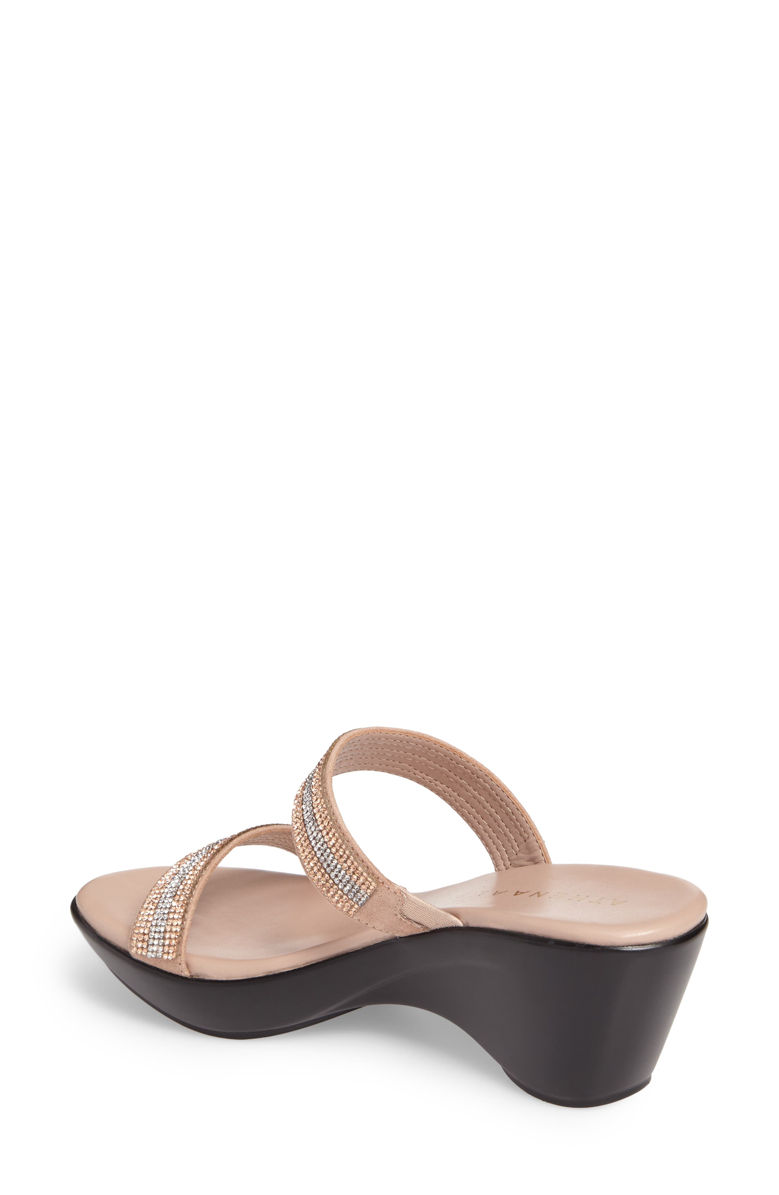 Arlo Wedge Sandal,                             Alternate thumbnail 2, color,                             Rose Gold Synthetic