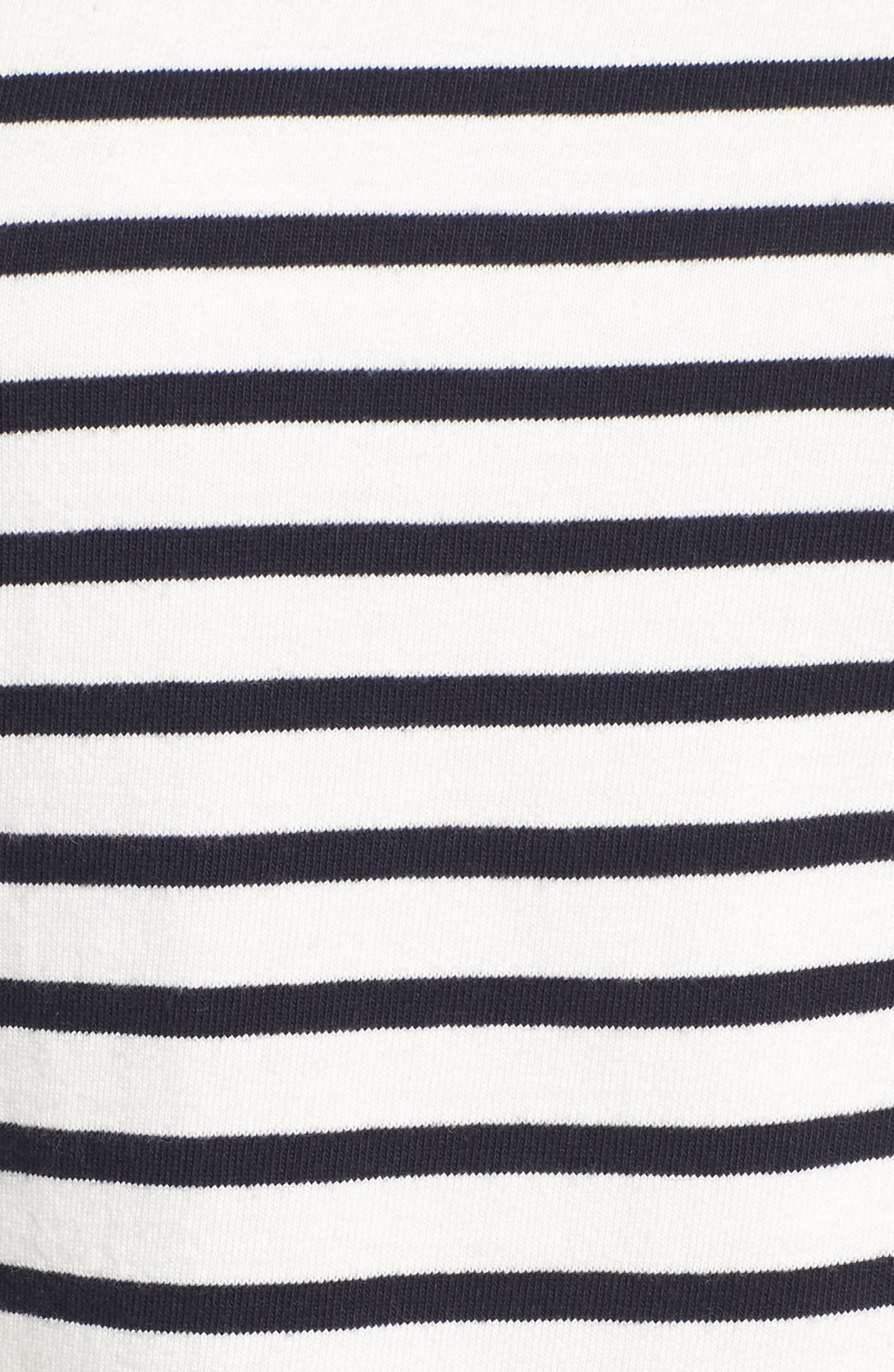 Trista Organic Cotton Dress,                             Alternate thumbnail 6, color,                             Ivory/ Navy