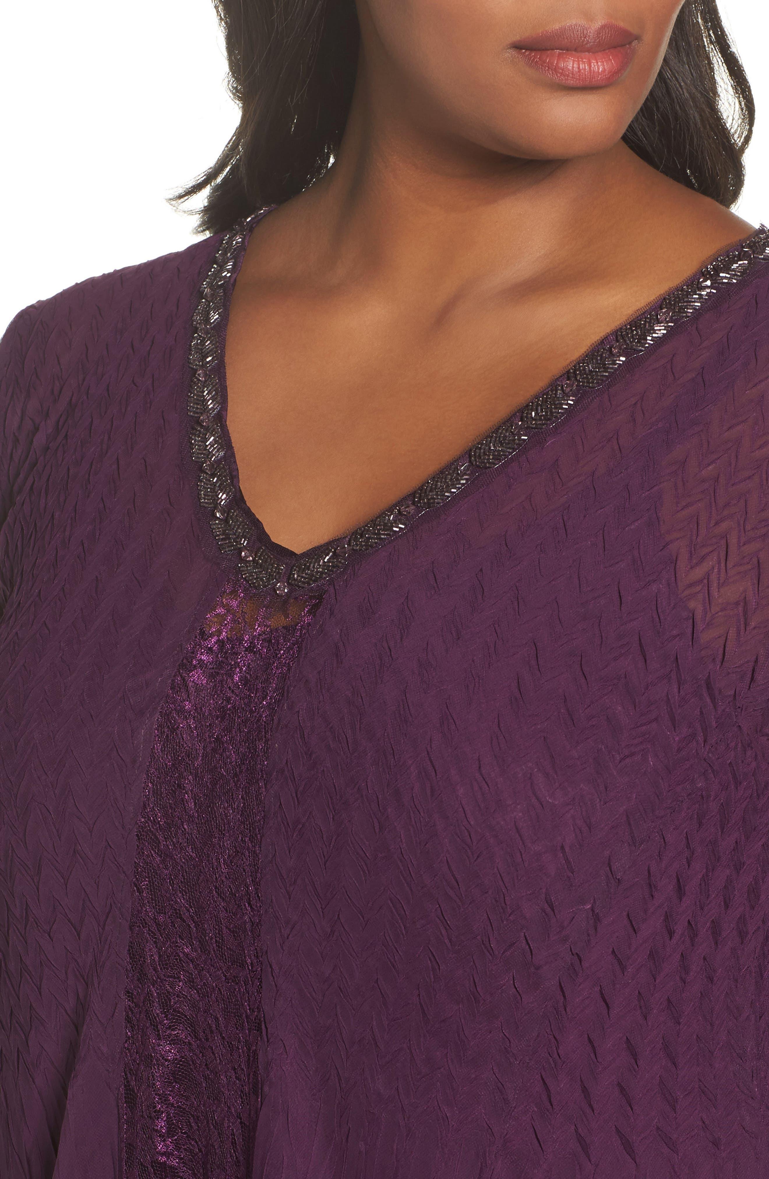 Center Front Lace Dress,                             Alternate thumbnail 4, color,                             Aubergine