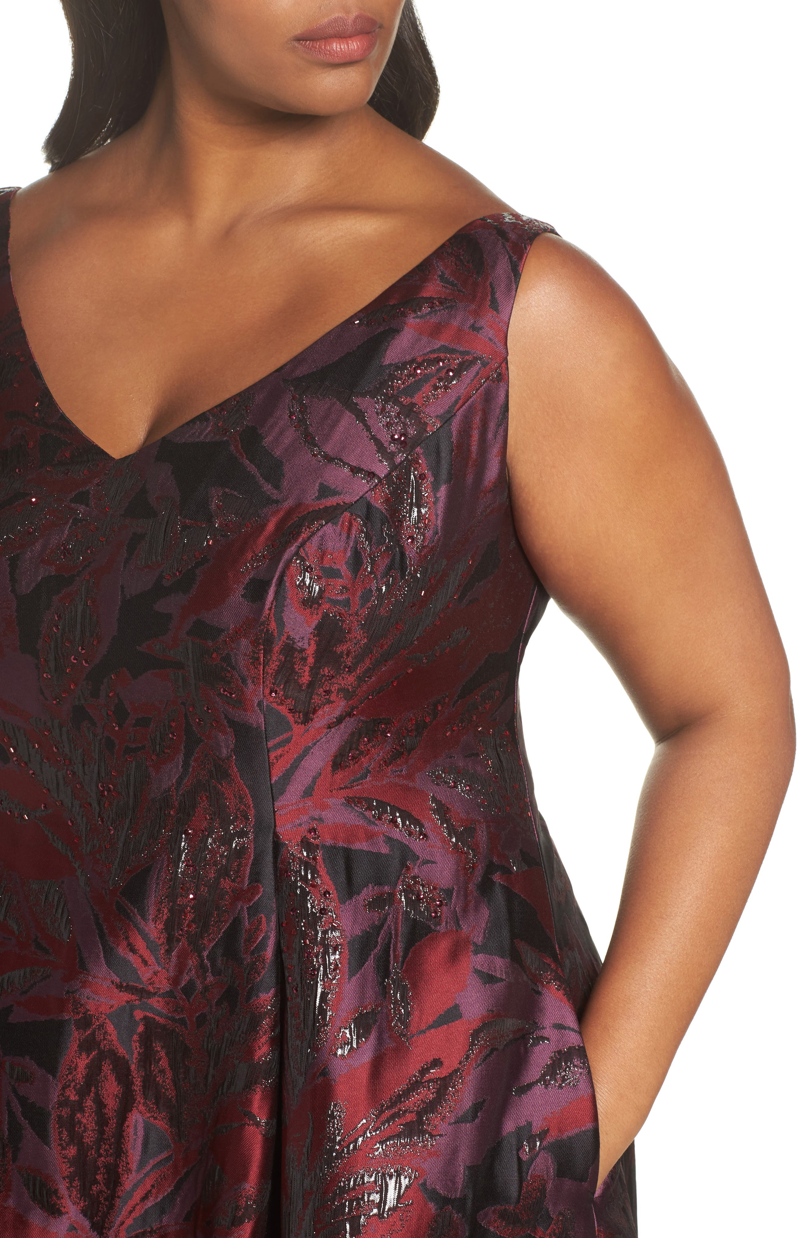 Alternate Image 4  - Adrianna Papell Metallic Floral Jacquard Fit & Flare Dress (Plus Size)