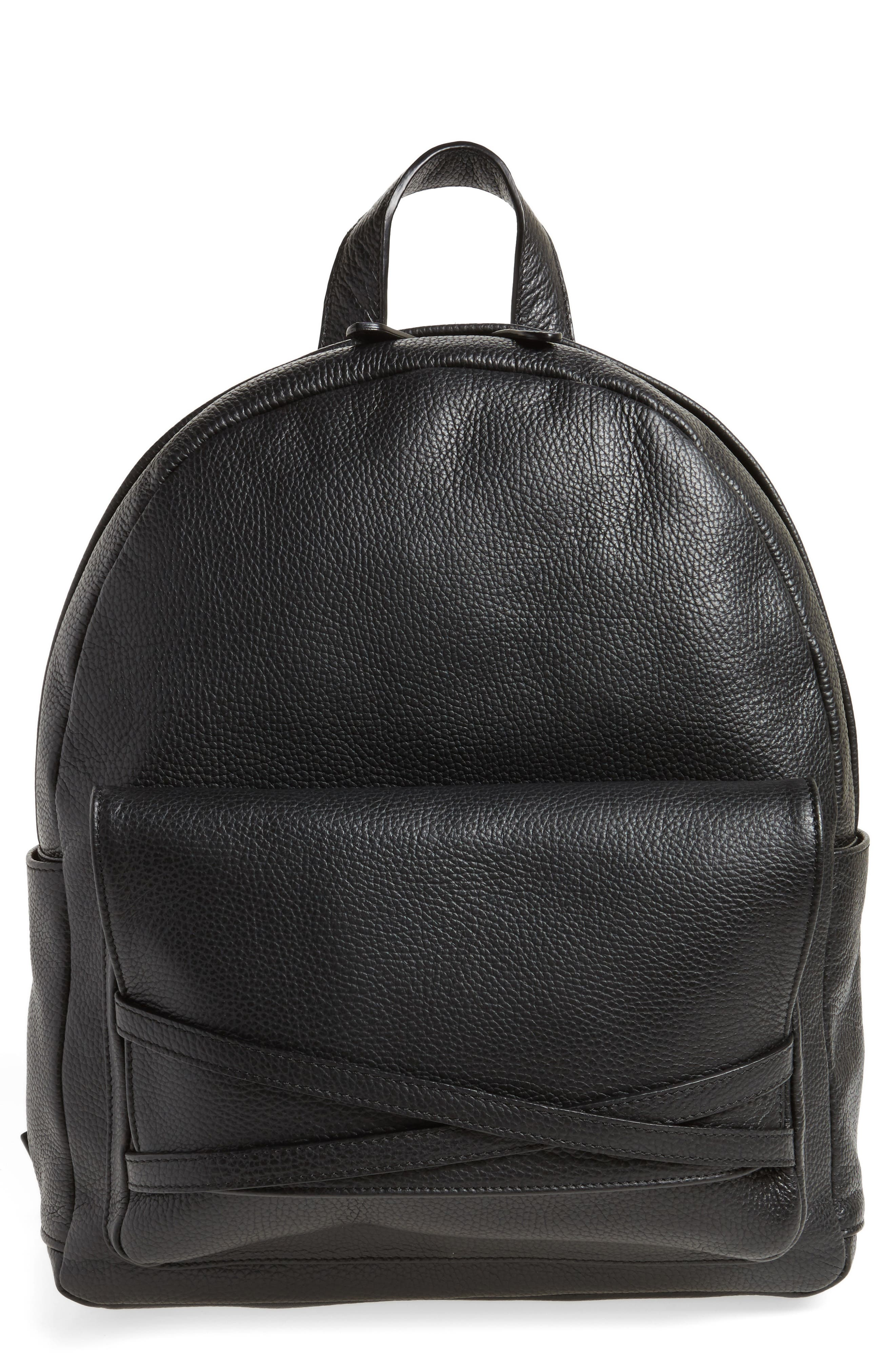Leather Backpack,                         Main,                         color, Black