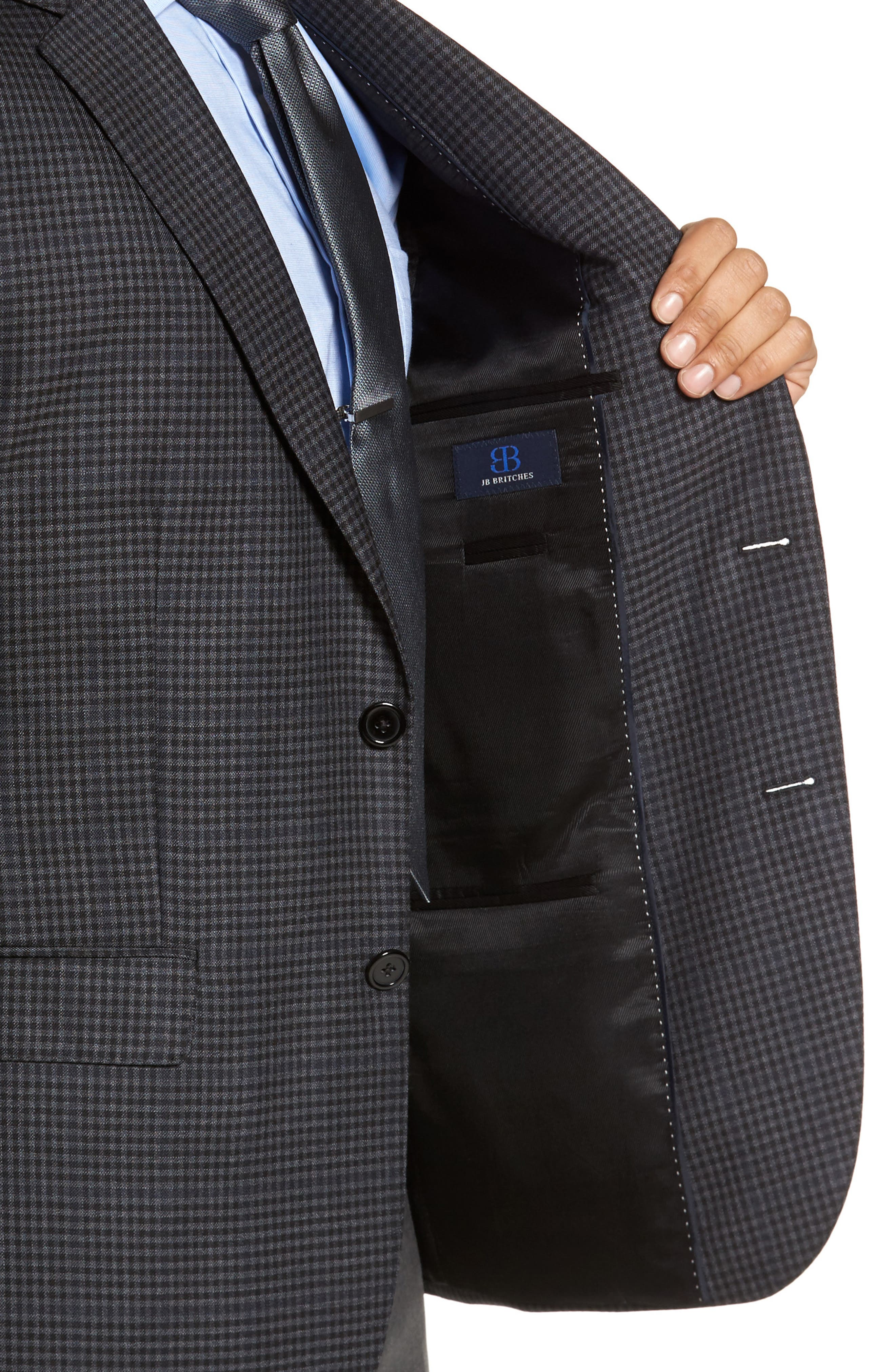Classic Fit Plaid Wool Sport Coat,                             Alternate thumbnail 4, color,                             Charcoal