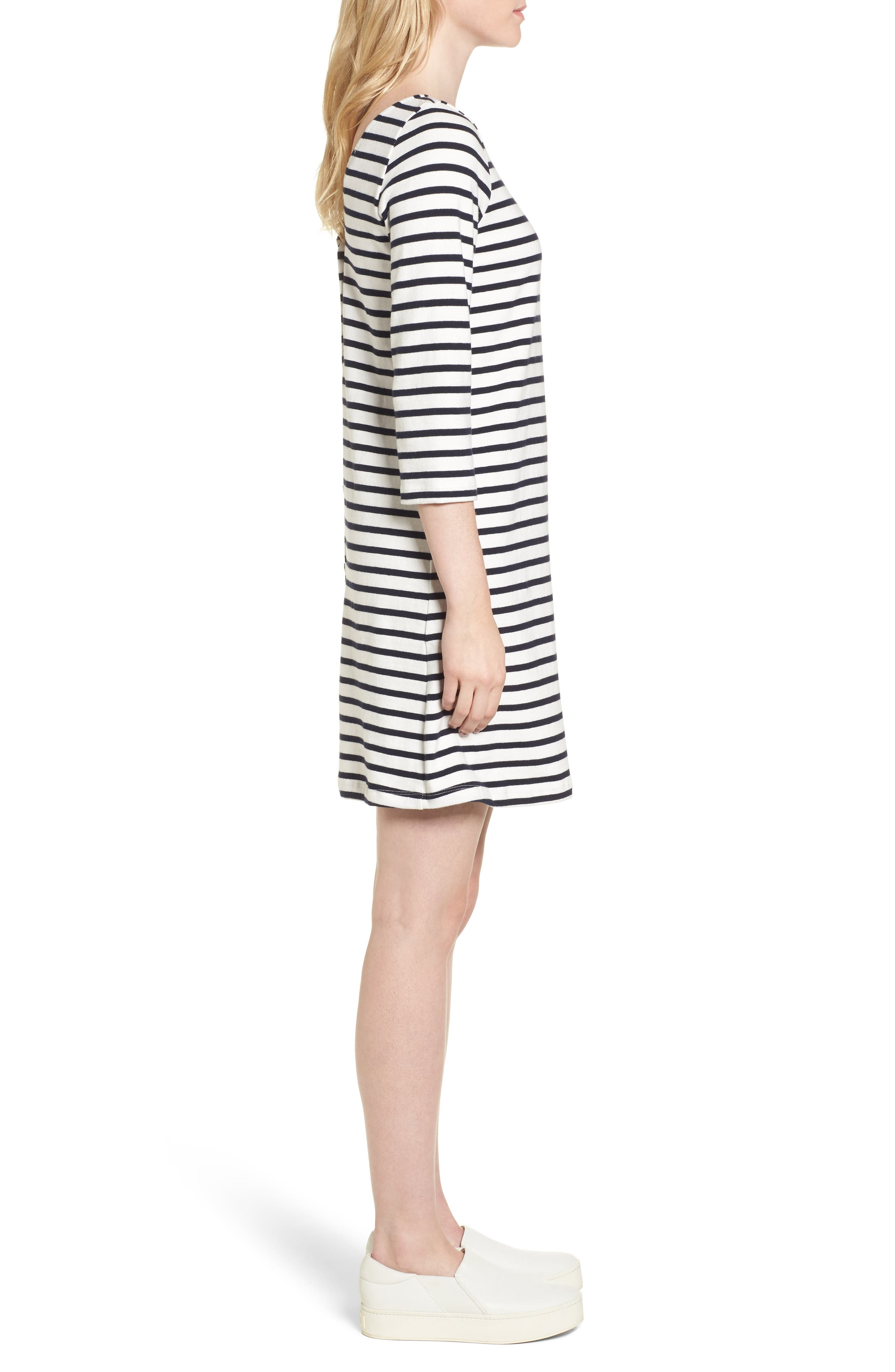 Trista Organic Cotton Dress,                             Alternate thumbnail 4, color,                             Ivory/ Navy