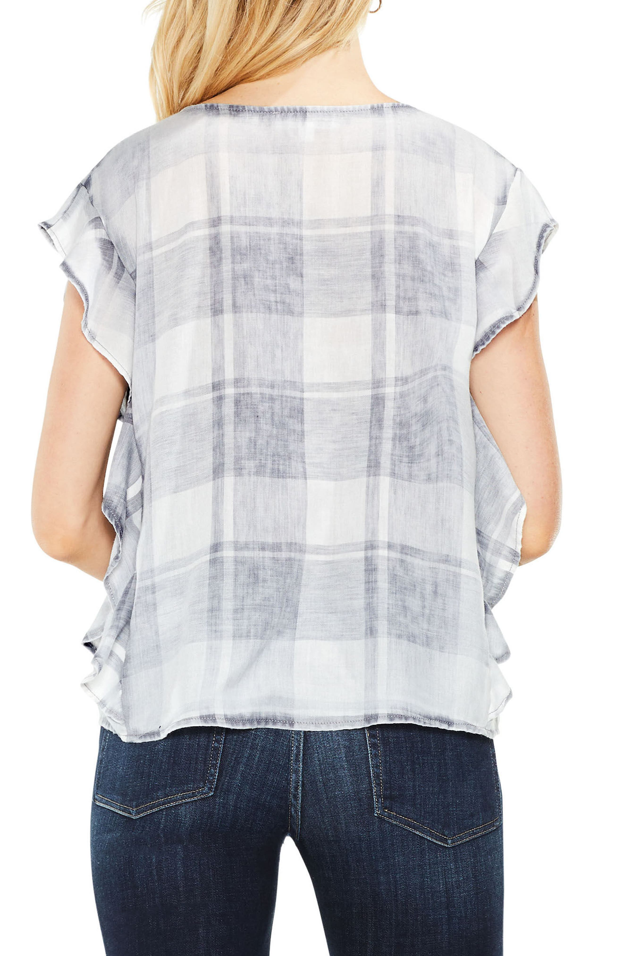 Extended Shoulder Ruffle Top,                             Alternate thumbnail 2, color,                             Grey Heather