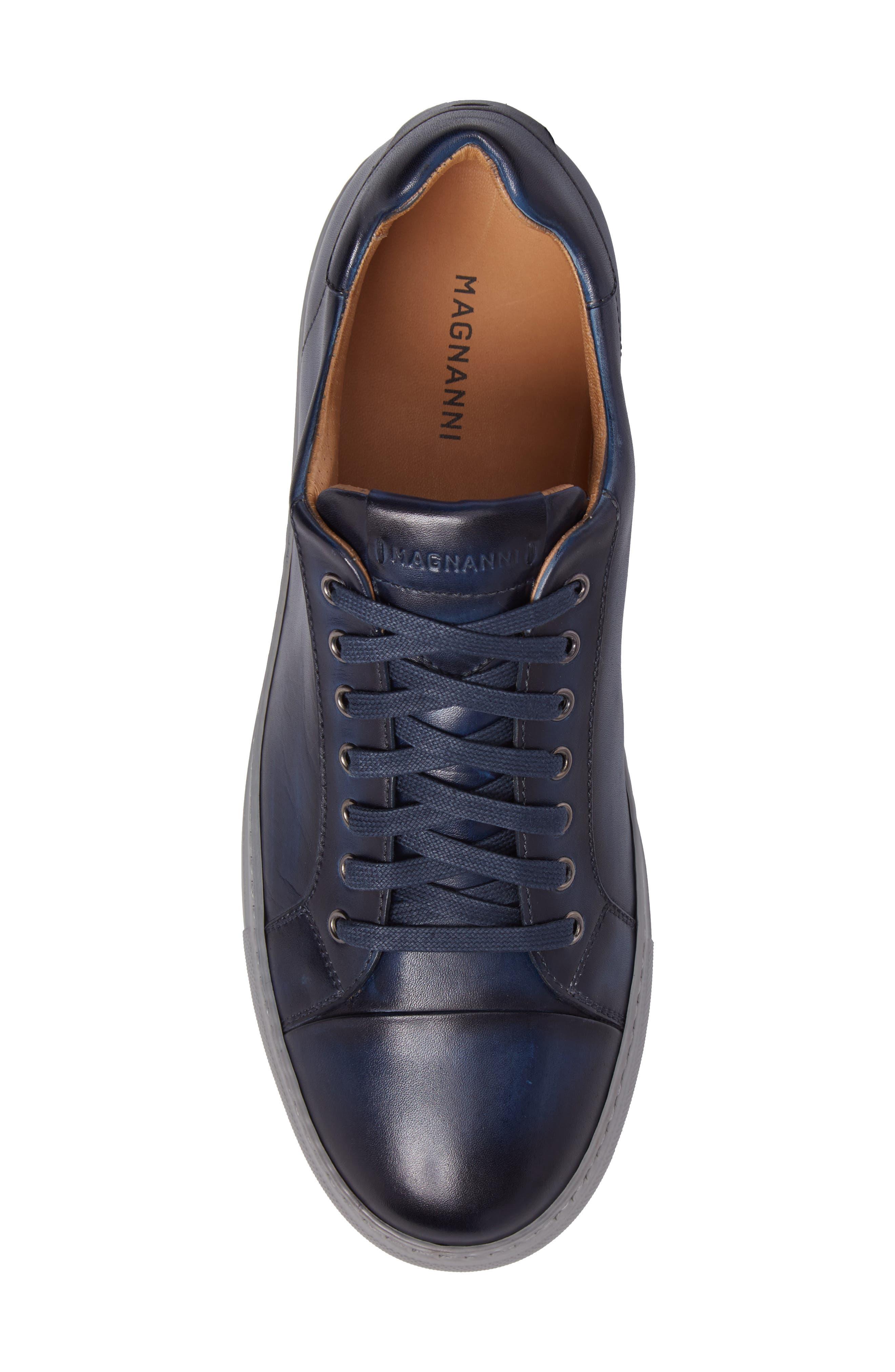 Kaden Lo Sneaker,                             Alternate thumbnail 5, color,                             Brushed Navy Leather