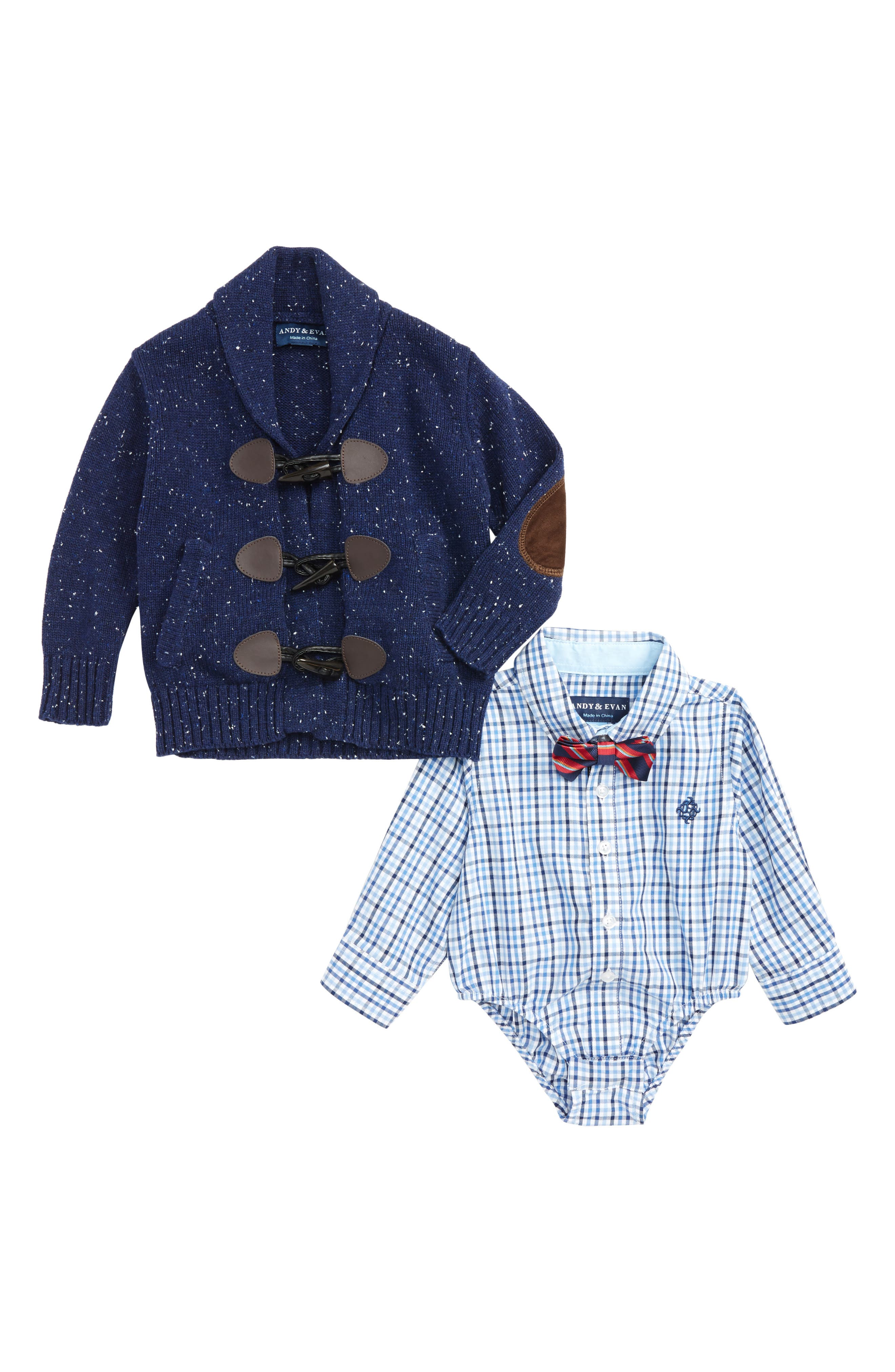 Andy & Evan Shirtzie Check Bodysuit, Bow Tie & Toggle Cardigan Set (Baby Boys)