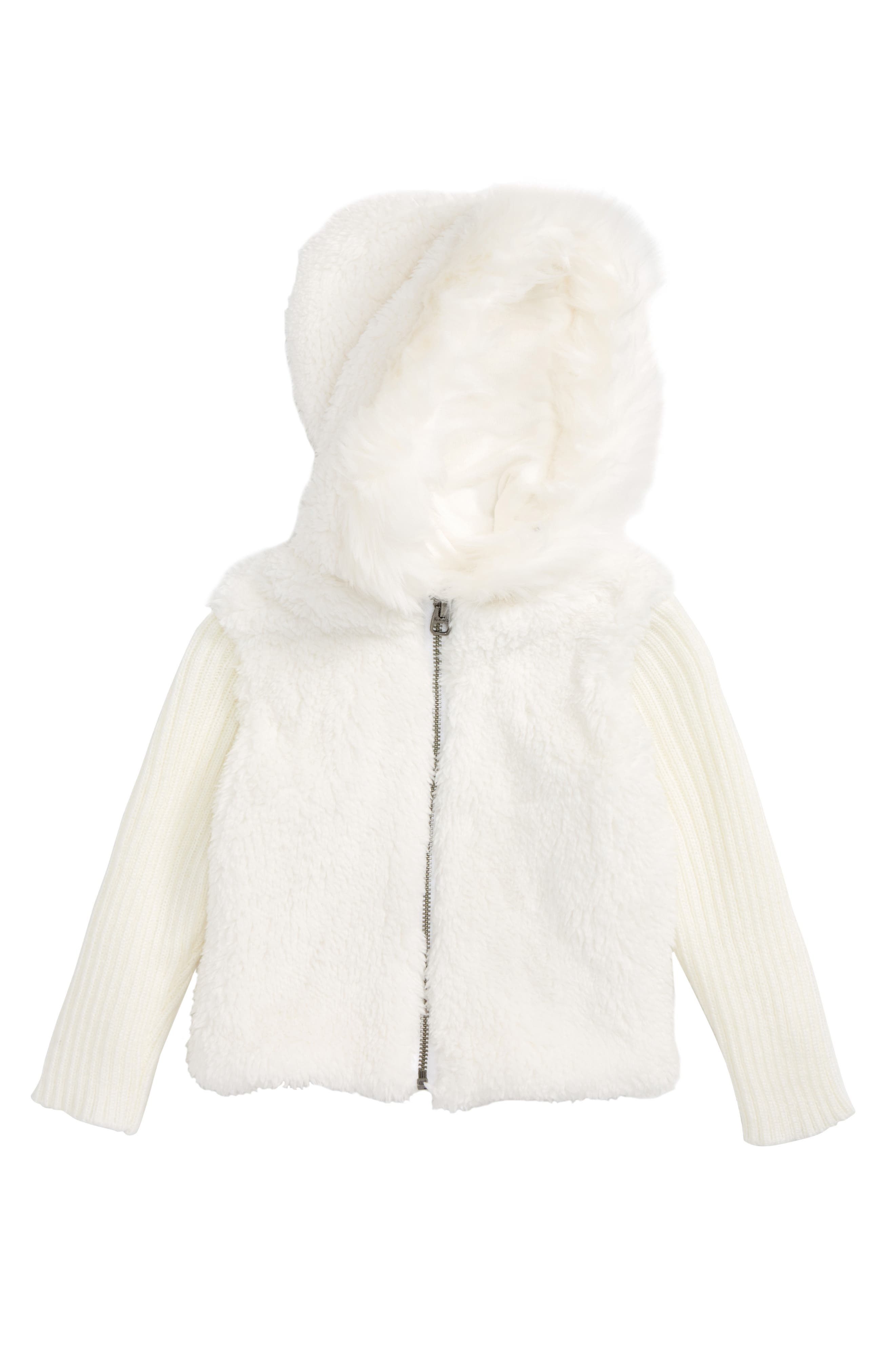 Splendid Faux Fur Hoodie (Baby Girls)
